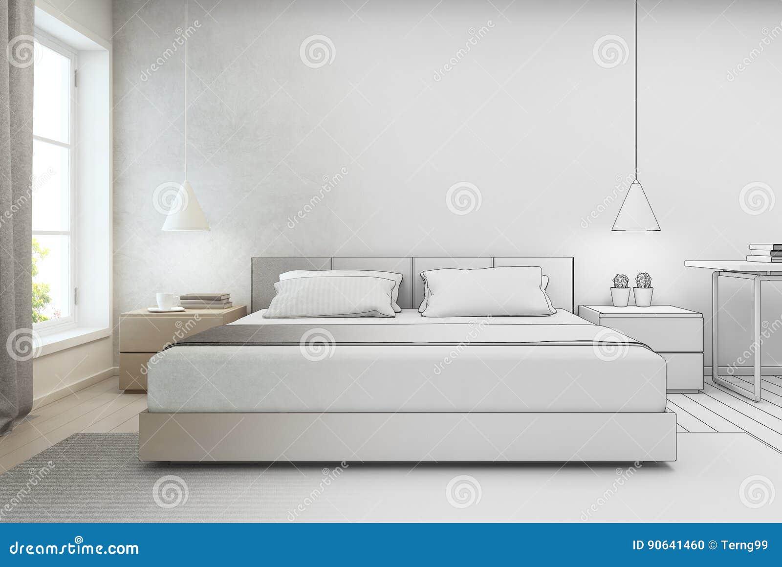 Camera Da Letto Con Il Fondo In Casa Moderna, Progettazione Del Muro ...