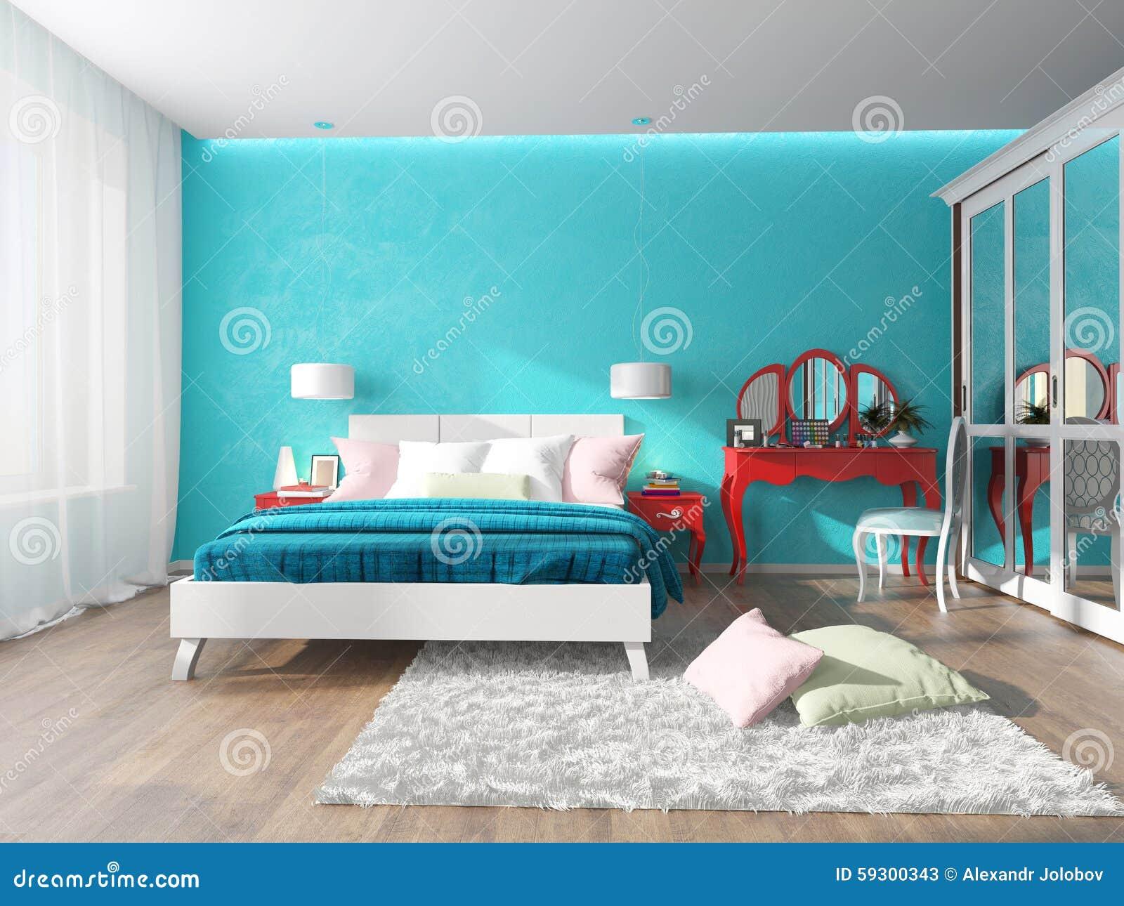 Camera Da Letto Parete Turchese : Camera da letto con la tavola di condimento nel rosso