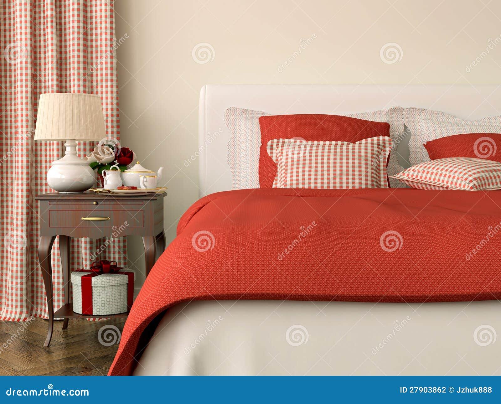 Camera da letto con le decorazioni rosse fotografia stock - Decorazioni camere da letto ...