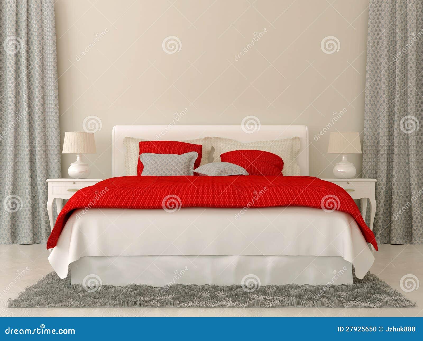 Camera da letto con le decorazioni rosse e grige - Decorazioni camera da letto ...