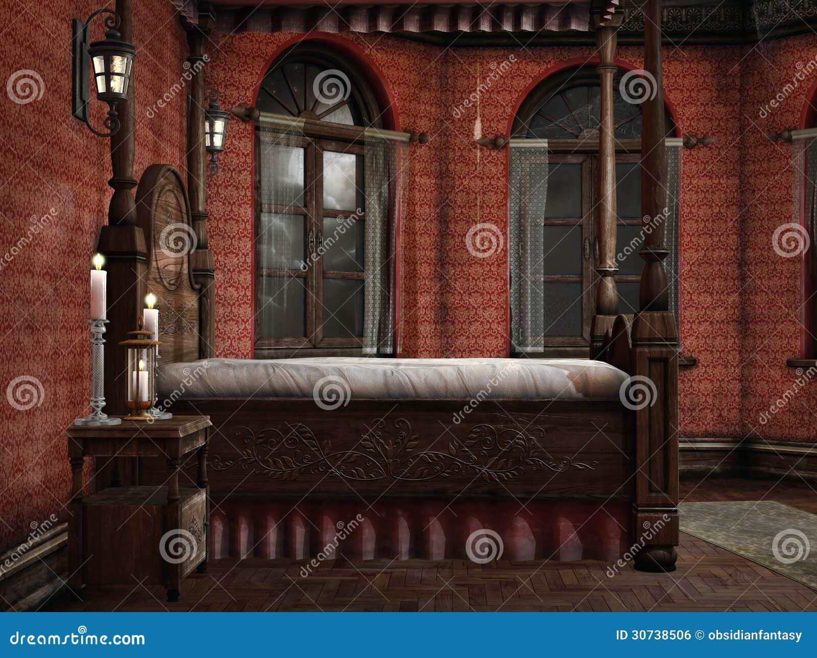 Candele Camera Da Letto : Camera da letto con le lampade e le candele illustrazione di stock