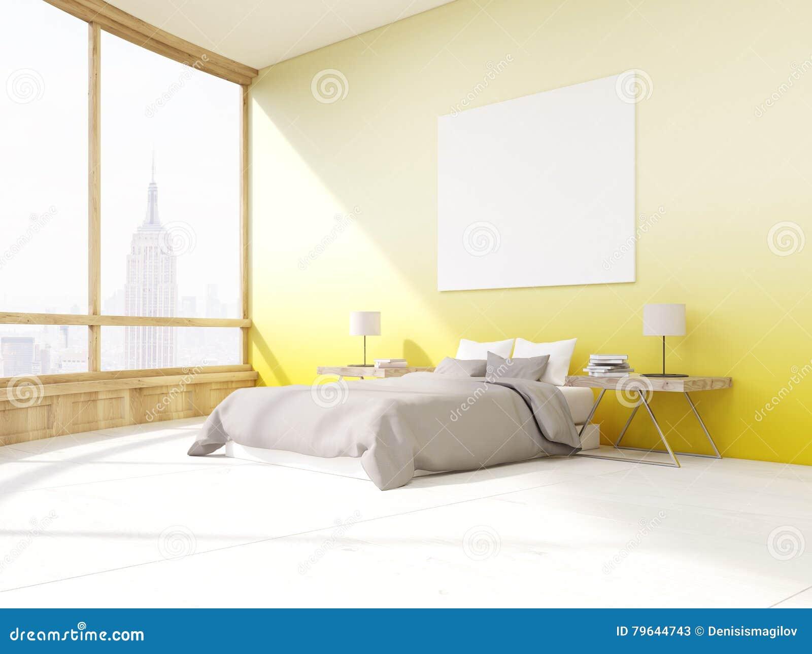 Camera da letto con le pareti gialle a new york illustrazione di stock illustrazione di - Camera da letto pareti ...