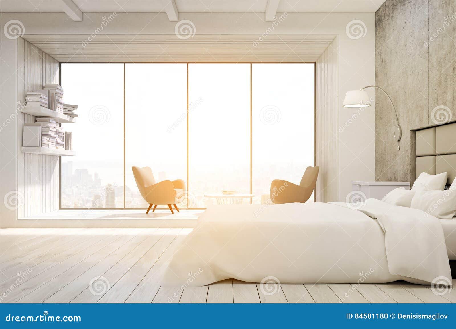 Camera da letto con le poltrone e la grande finestra tonificate illustrazione di stock - La finestra della camera da letto ...