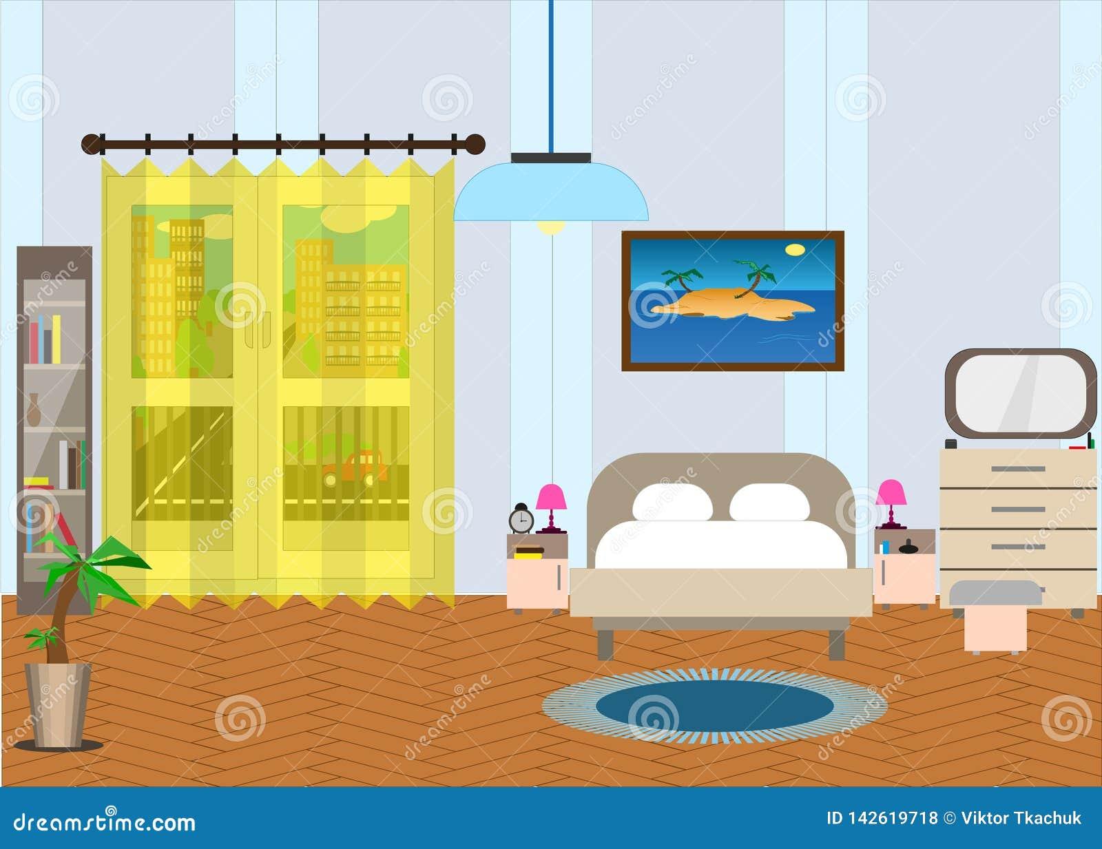 Camera da letto con mobilia e una finestra Fuori della via