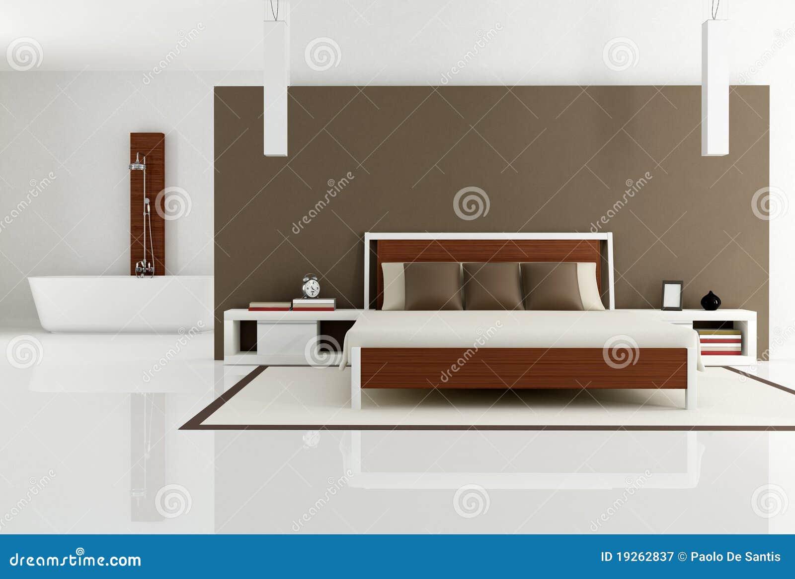 Camera da letto del brown con la vasca da bagno di modo - Camera da letto con bagno ...