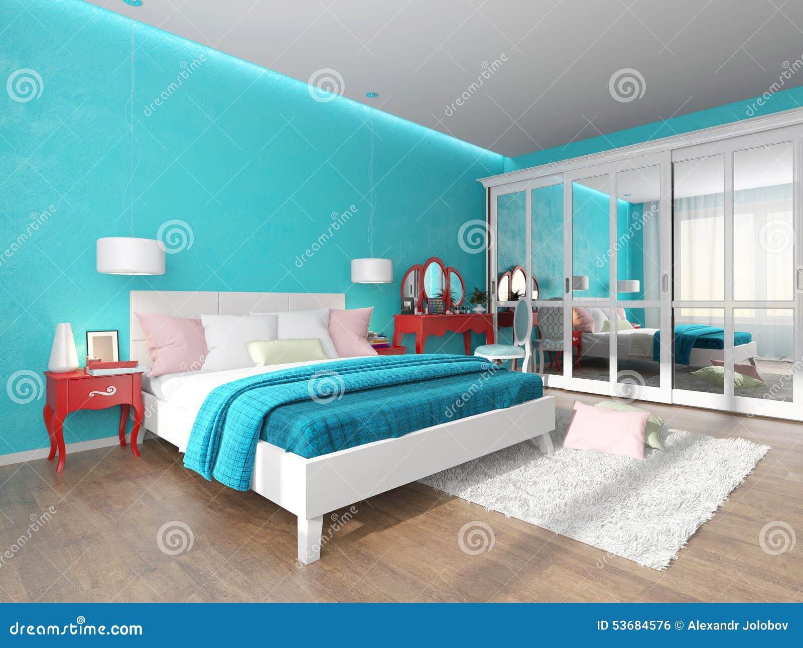 Camera Da Letto Parete Turchese : Illustrazione dell interno della camera da letto in un turchese