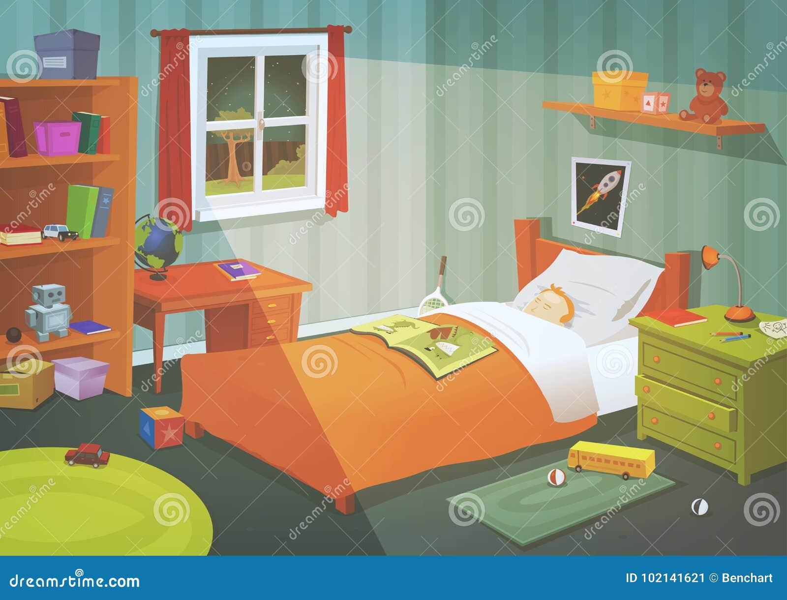 Camera da letto dell adolescente o del bambino nella luce della luna