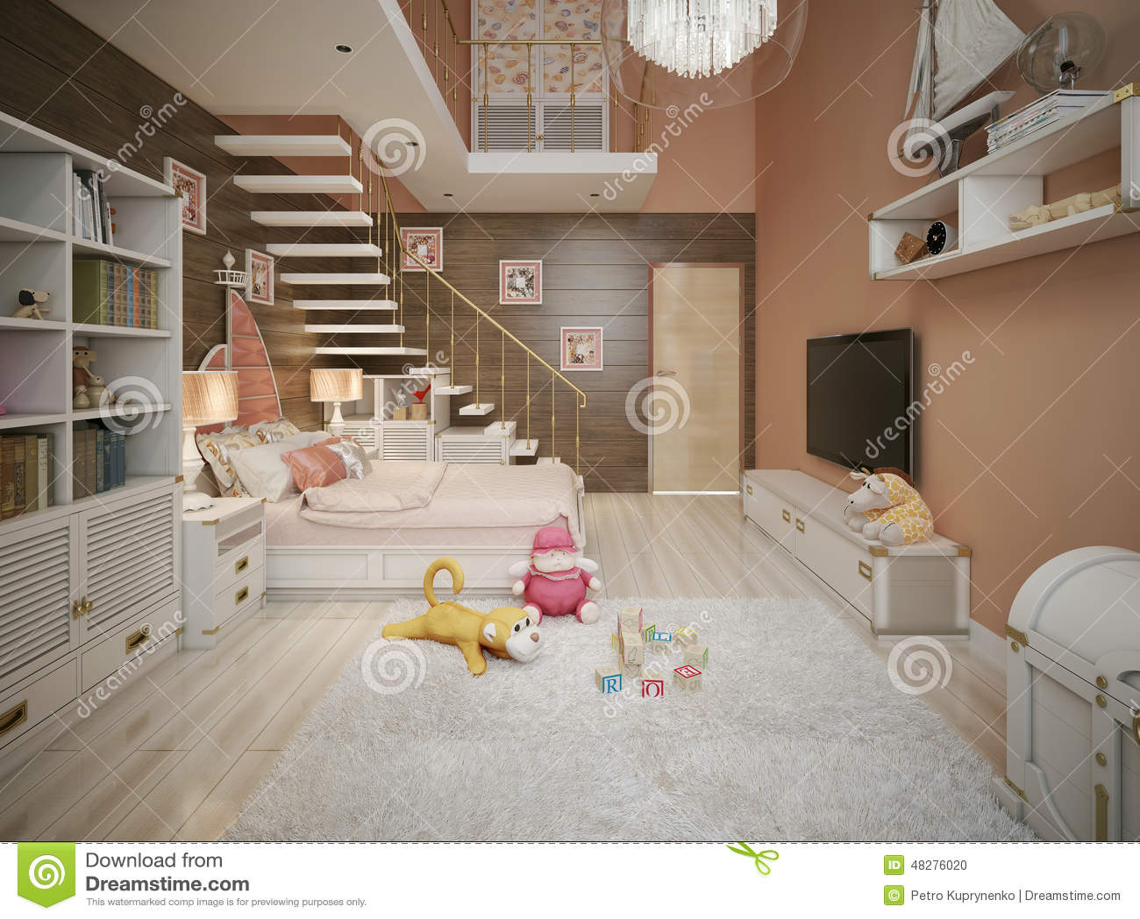 Camera da letto delle ragazze nello stile classico illustrazione di stock illustrazione di - Camera per ragazze ...