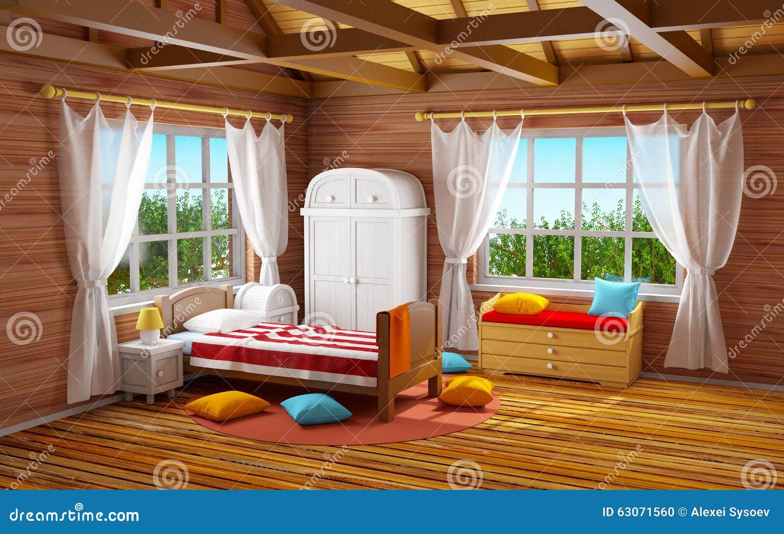 Camera da letto di legno di fantasia illustrazione di - Camera da letto legno ...