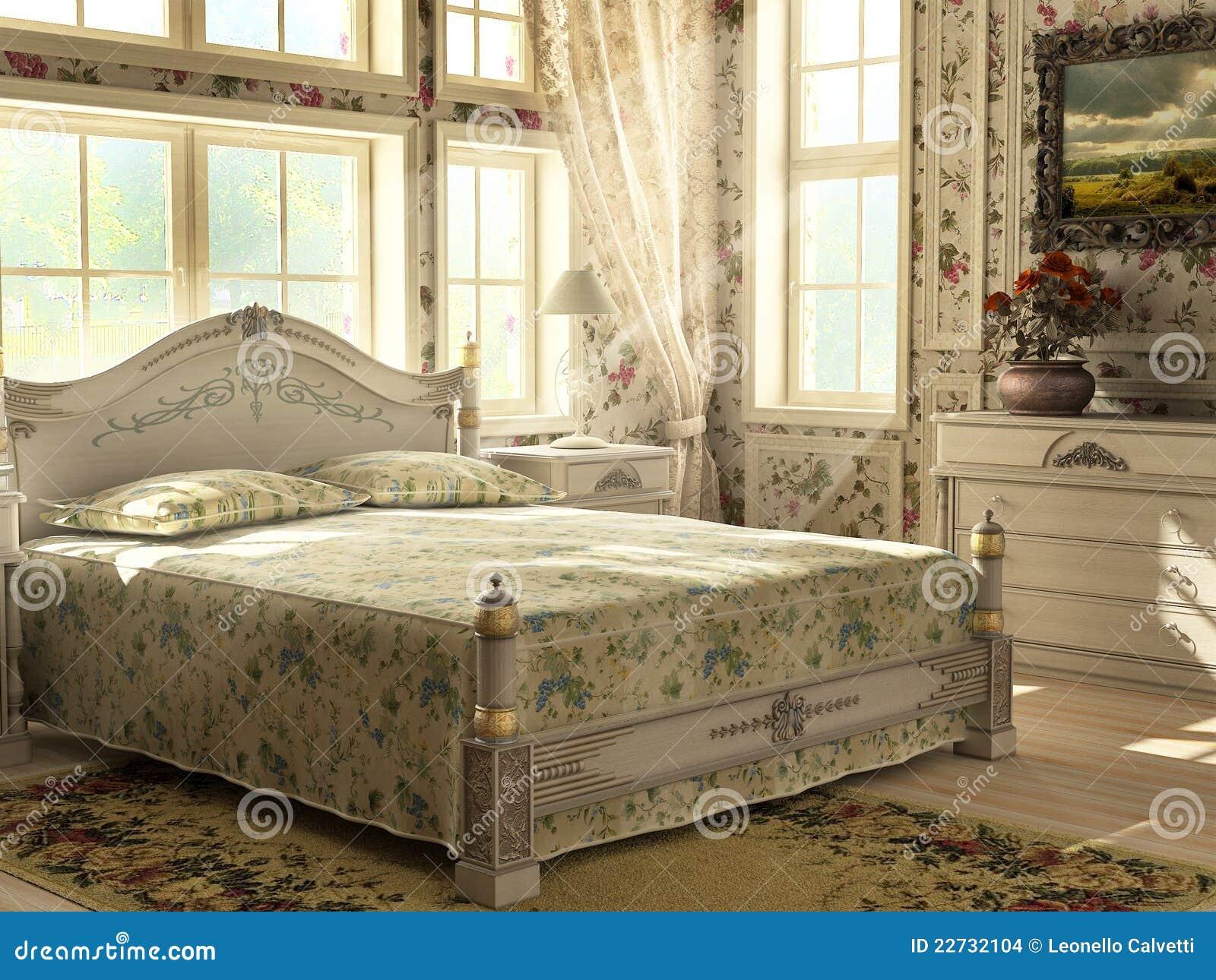 Camera da letto di lusso antica illustrazione di stock - Camera da letto antica ...