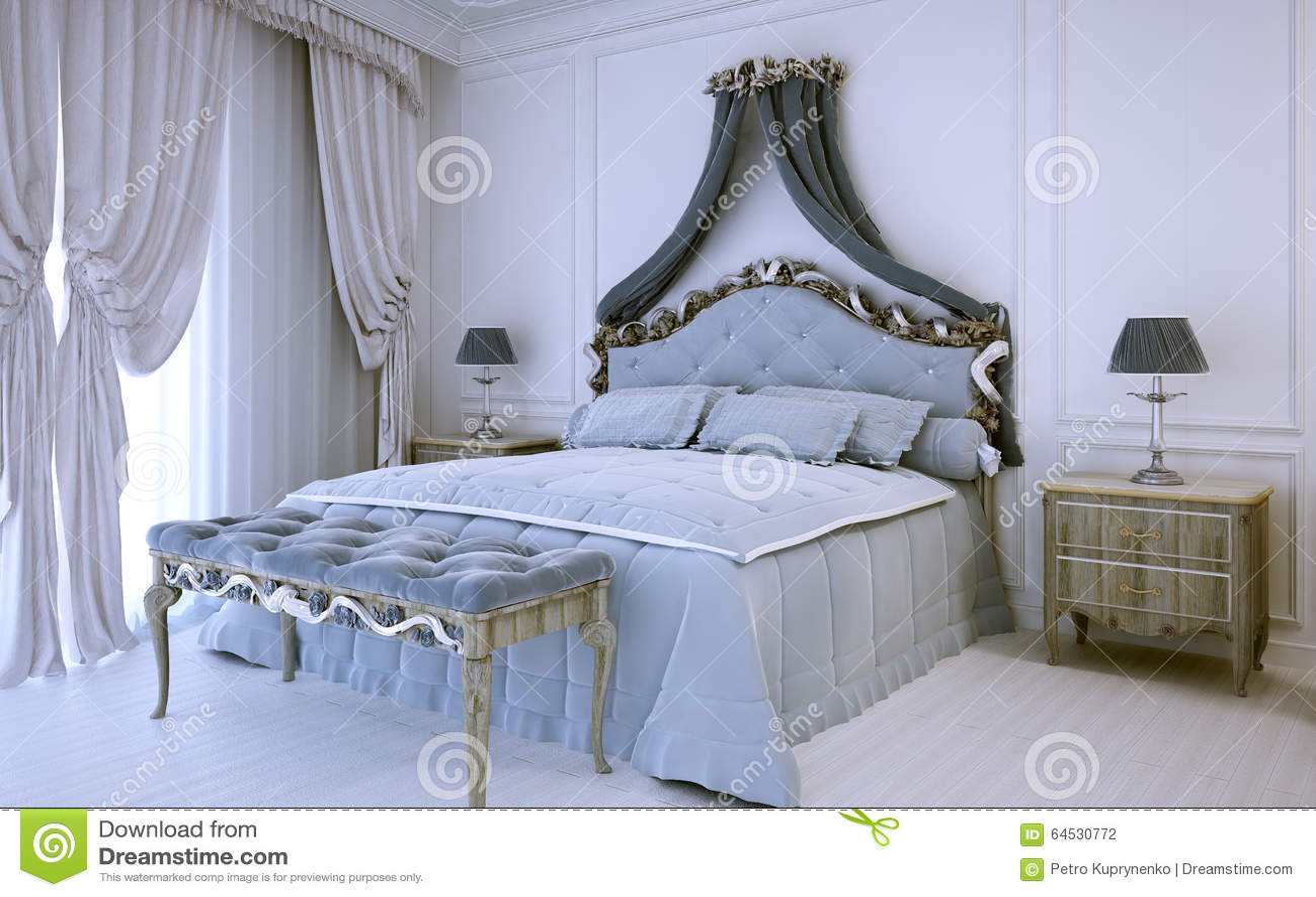 Camera da letto di lusso bianca nello stile neoclassico - Camera da letto di lusso ...