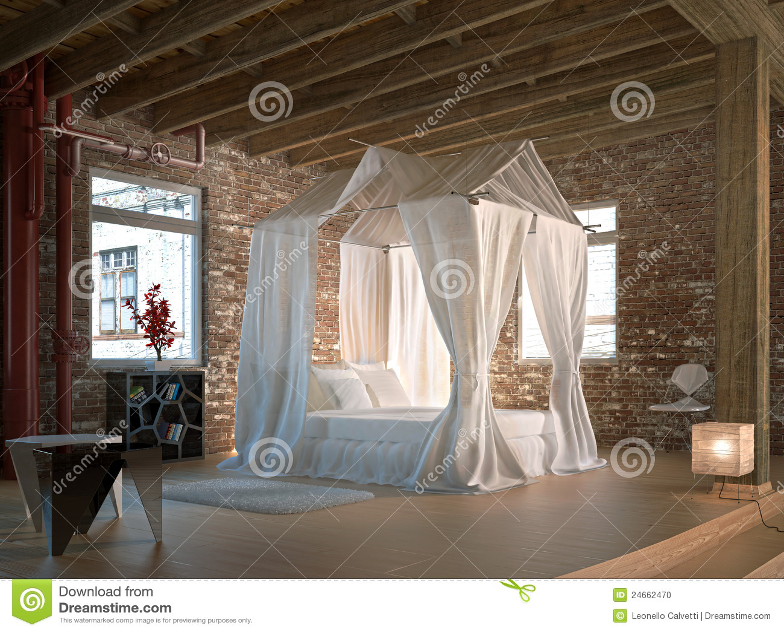 Camera da letto di lusso del granaio con una base dei for Piani di fattoria del granaio