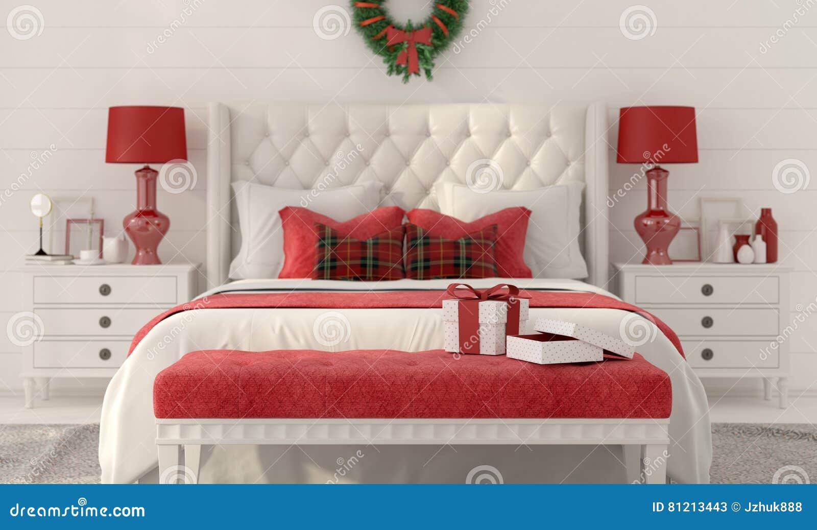 Camera Da Letto Di Natale Bianco Con I Regali Illustrazione di Stock ...