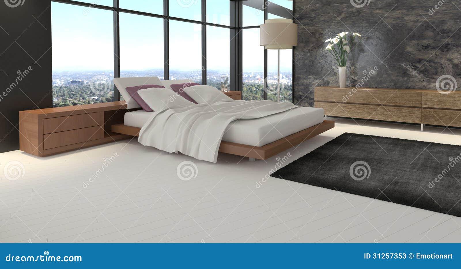 Camera da letto di progettazione moderna con la vista del for Camera letto 3d