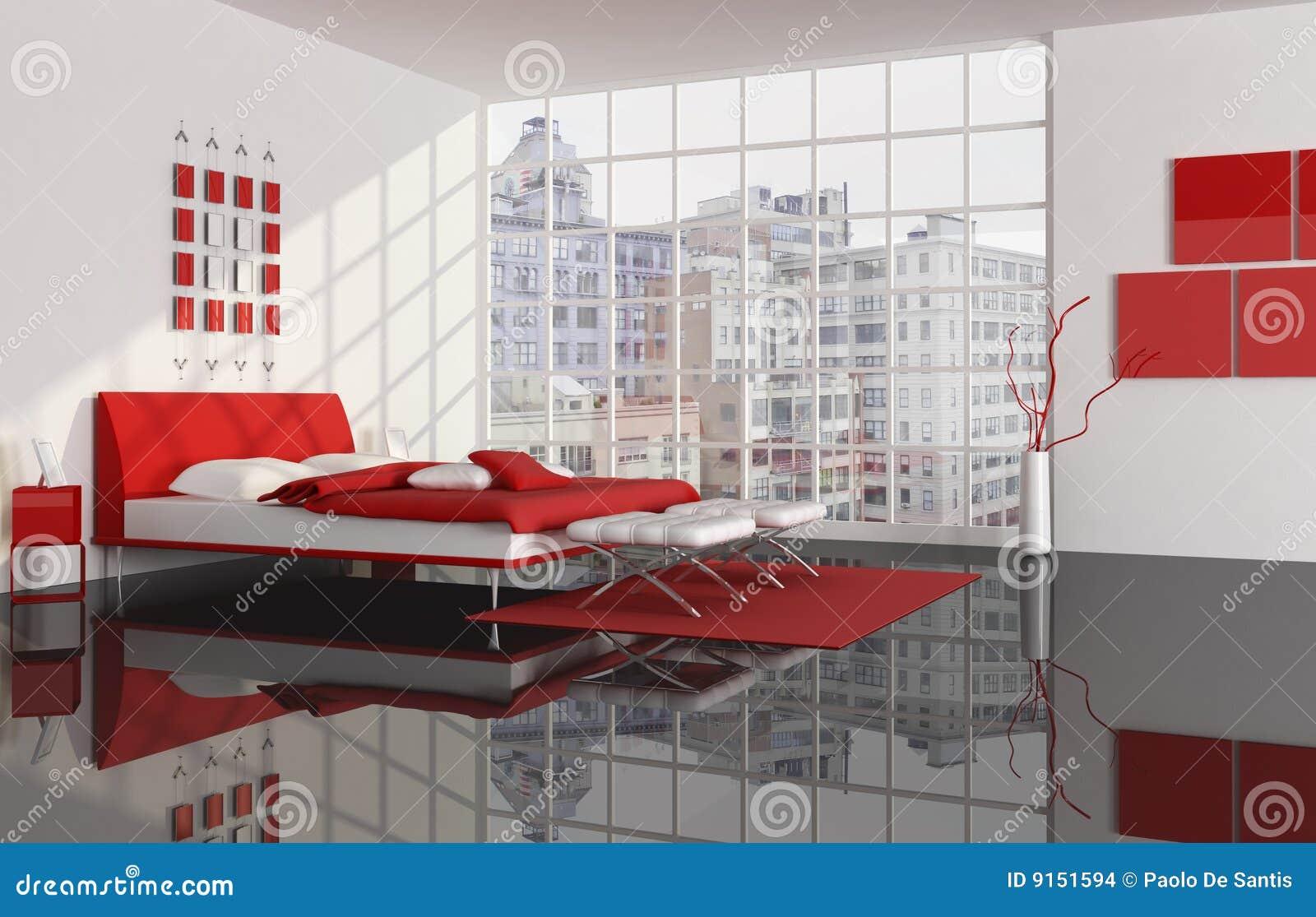 Camera Da Letto Di Un Appartamento Della Città Illustrazione di ...