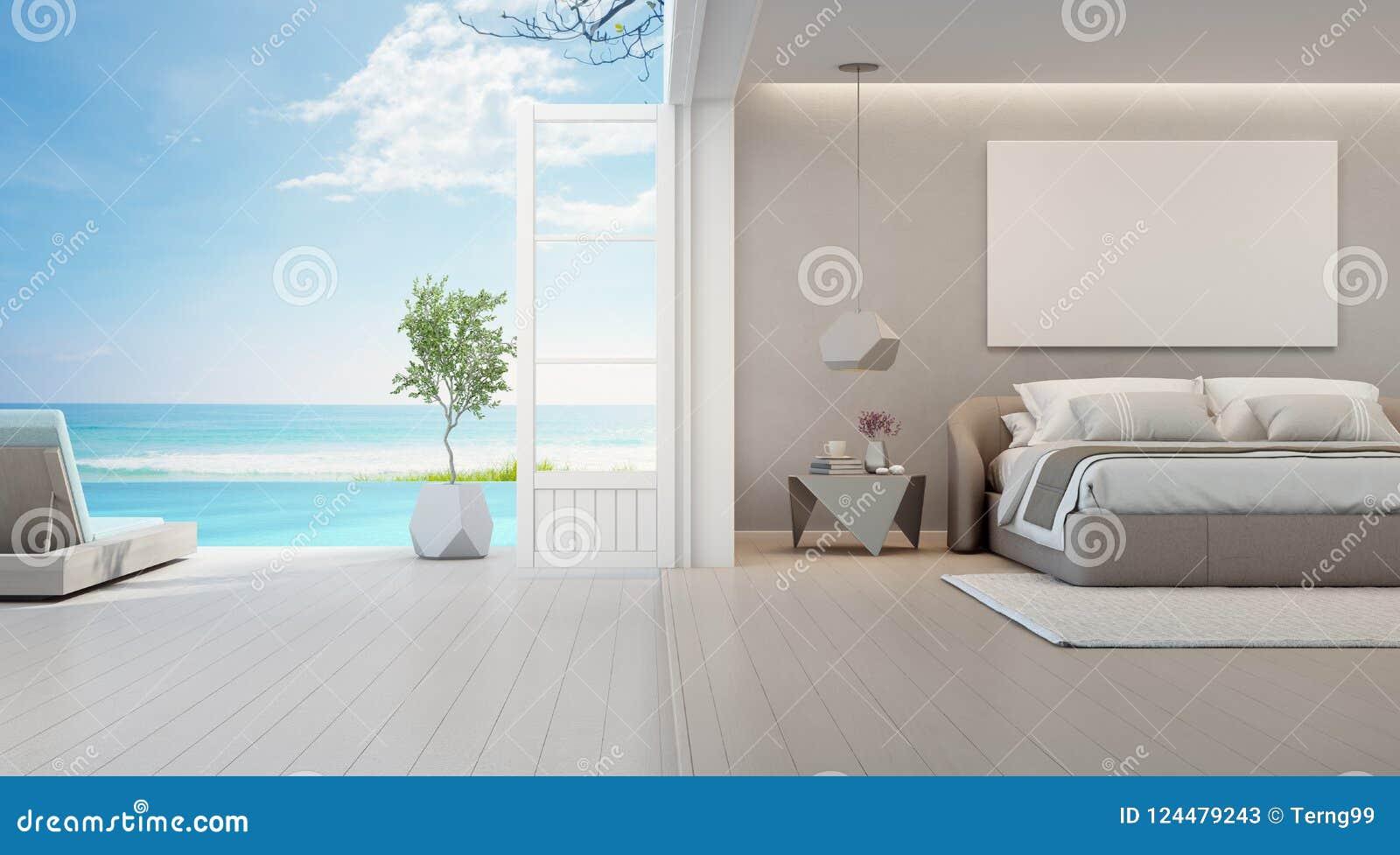 Camera Da Letto Di Vista Del Mare Della Casa Di Spiaggia Di ...