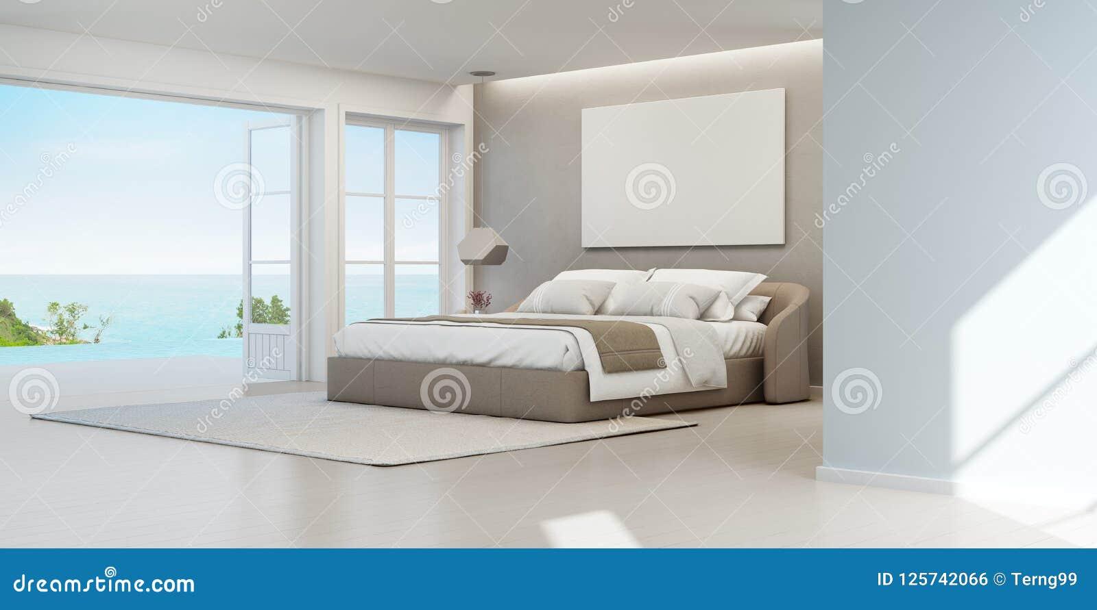 Camera Da Letto Di Vista Del Mare Della Casa Di Spiaggia Di Lusso Di ...