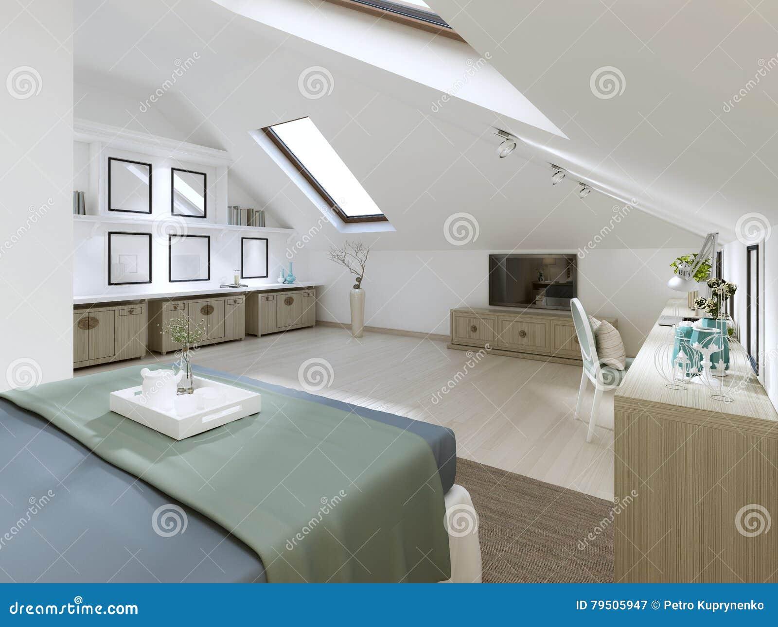 Camera da letto enorme sul sottotetto in uno stile moderno