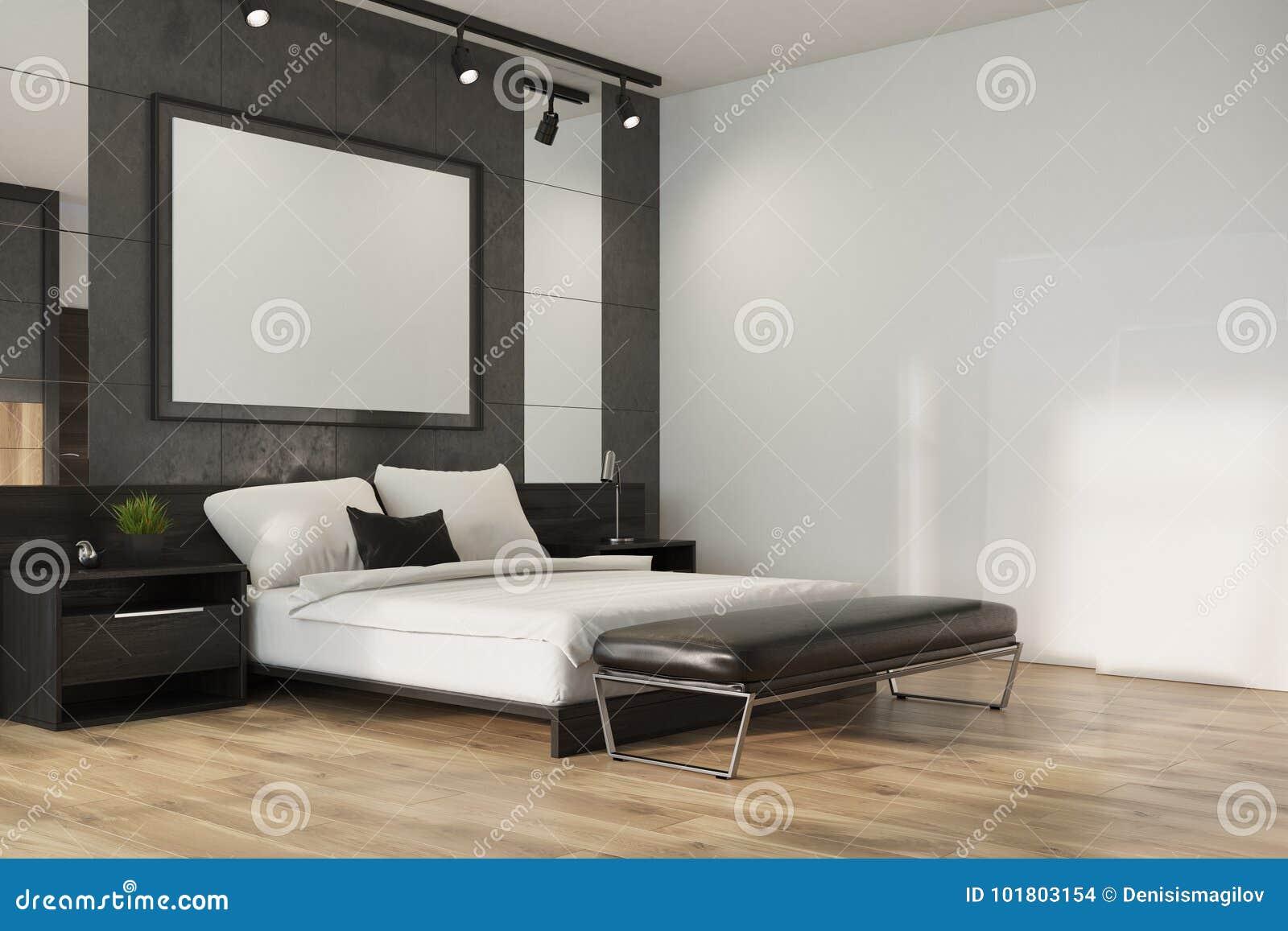 Angolo Del Letto : Camera da letto grigia del sottotetto angolo del manifesto