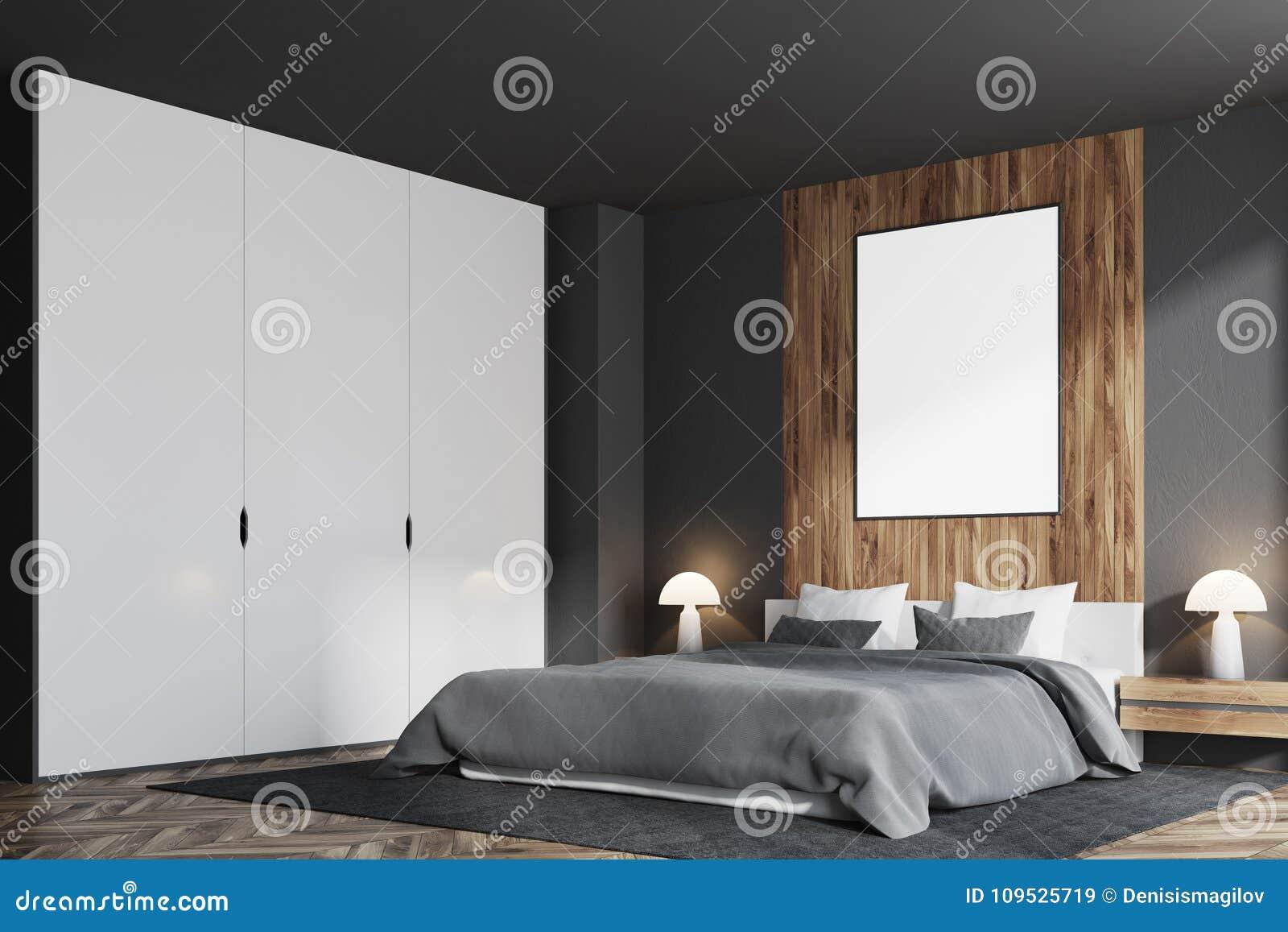 Camera Da Letto Grigia camera da letto grigia e di legno, lato verticale del