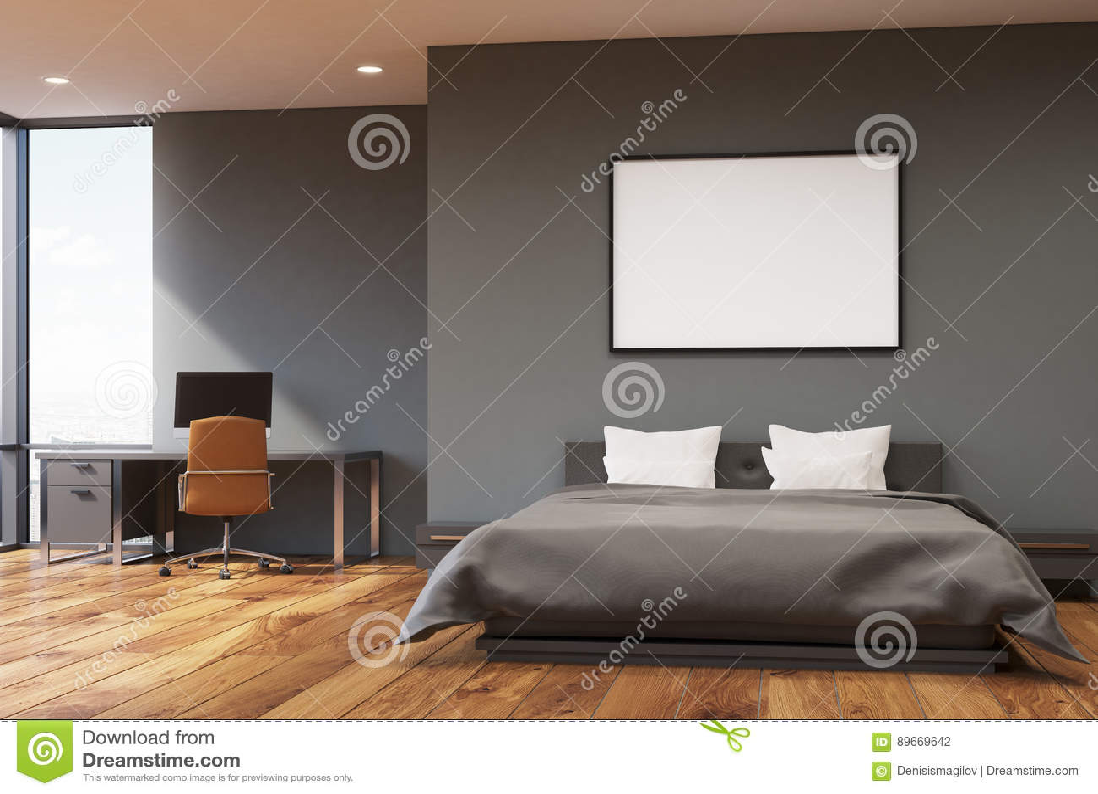 Letto Grigio Scuro : Camera da letto grigio scuro della parete anteriore illustrazione