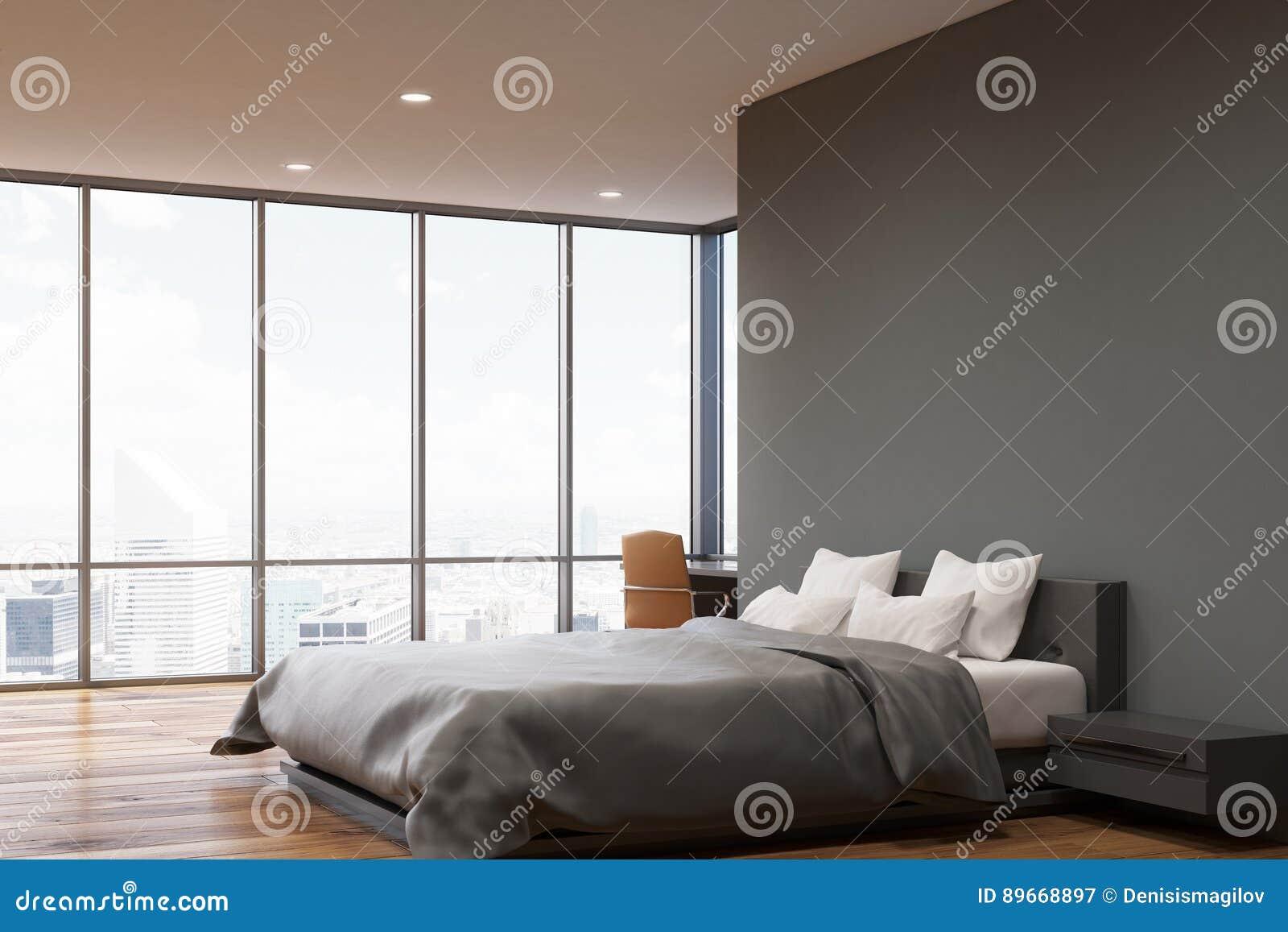 Letto Grigio Scuro : Camera da letto grigio scuro della parete lato illustrazione di