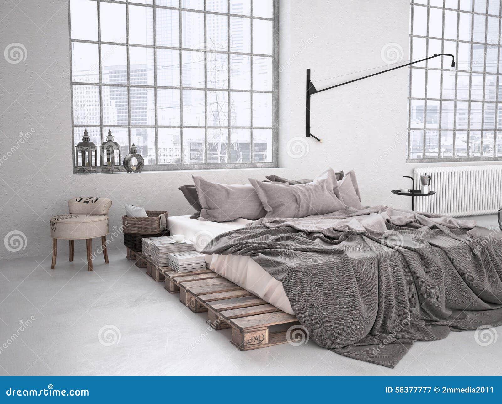 Camera da letto industriale rappresentazione 3d