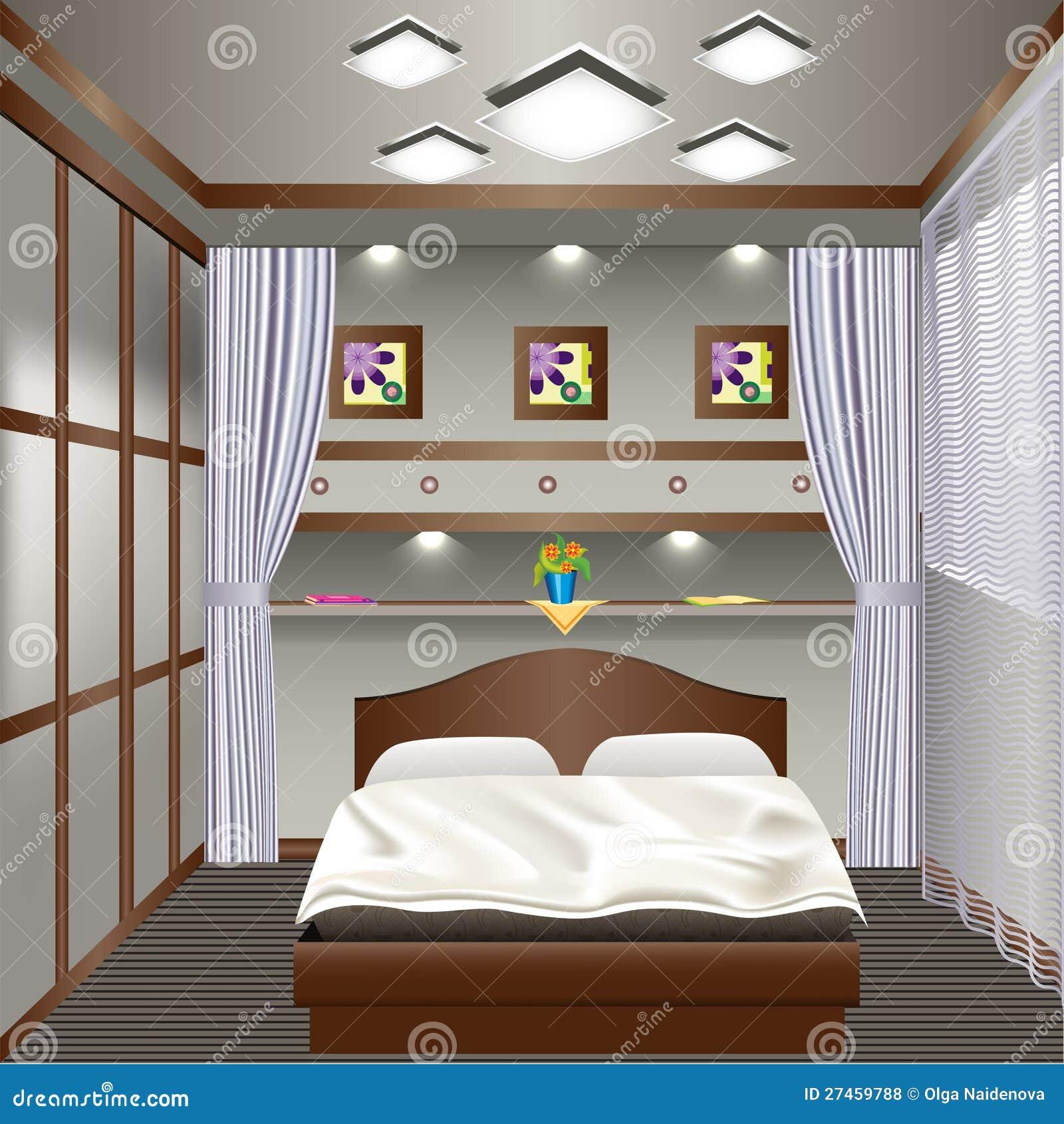 ... da Diritti: Camera da letto interna con una finestra con le tende