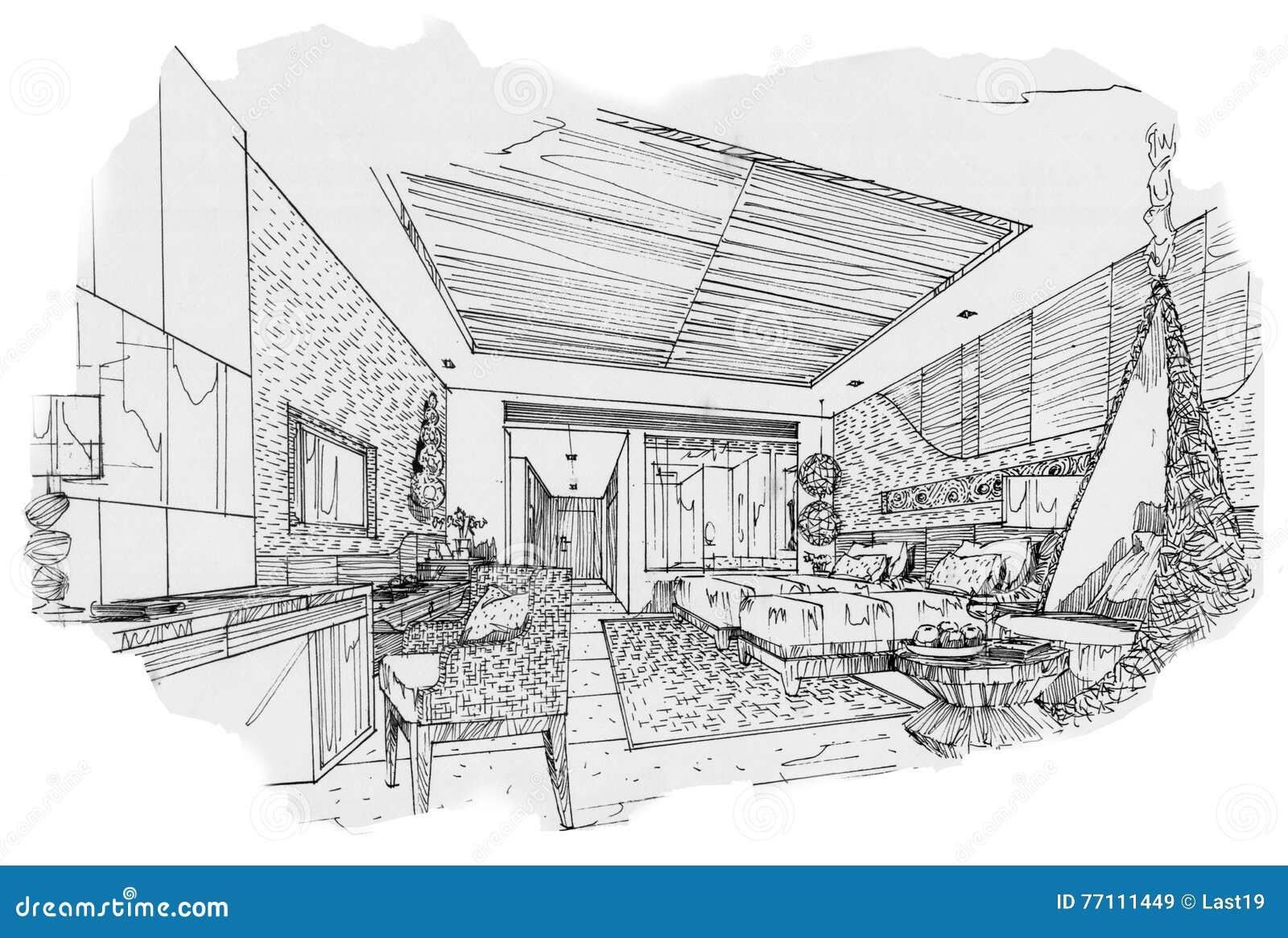 Camera da letto interna del gemello di prospettiva di for Camera da letto interior design