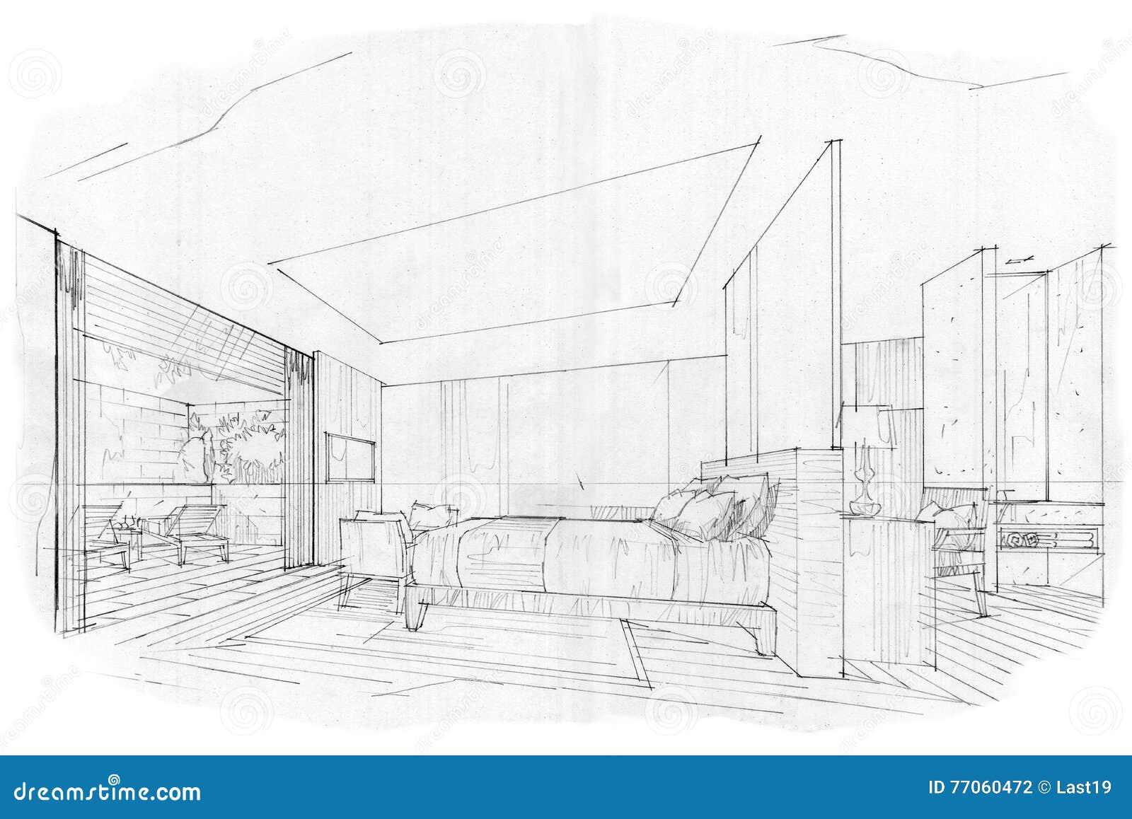 Camera da letto interna di prospettiva di schizzo for Disegni di case in prospettiva