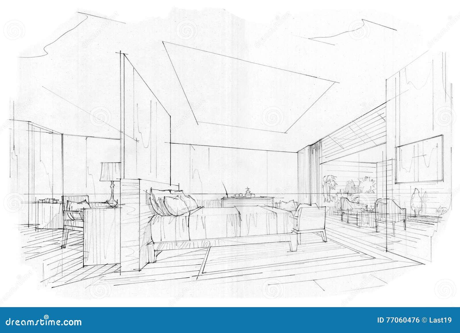 Camera da letto interna di prospettiva di schizzo for Camera da letto interior design