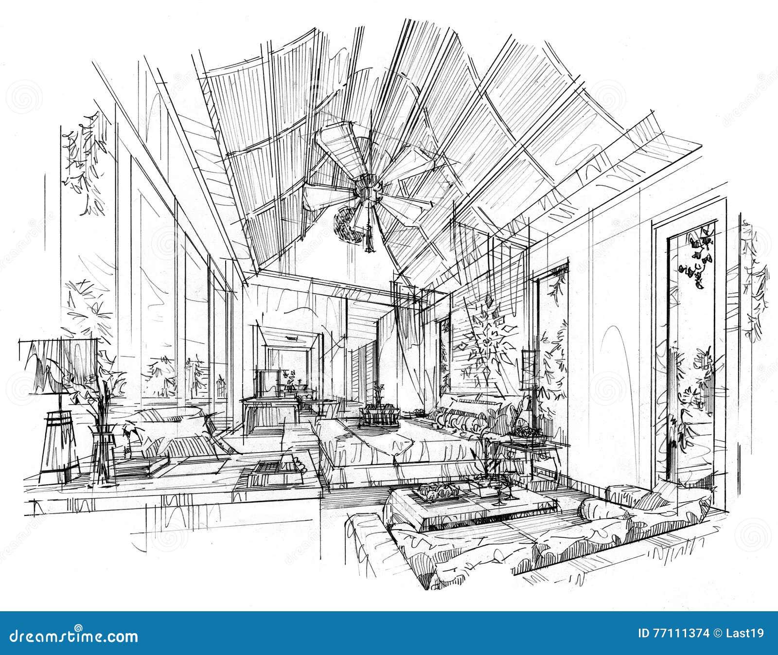 Camera da letto interna di prospettiva di schizzo interior design in bianco e nero - Interior design camera da letto ...