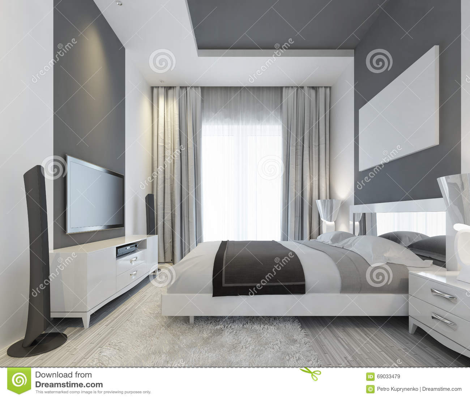 Camera da letto lussuosa con una grande finestra illustrazione di stock illustrazione di casa - Camera da letto grande ...