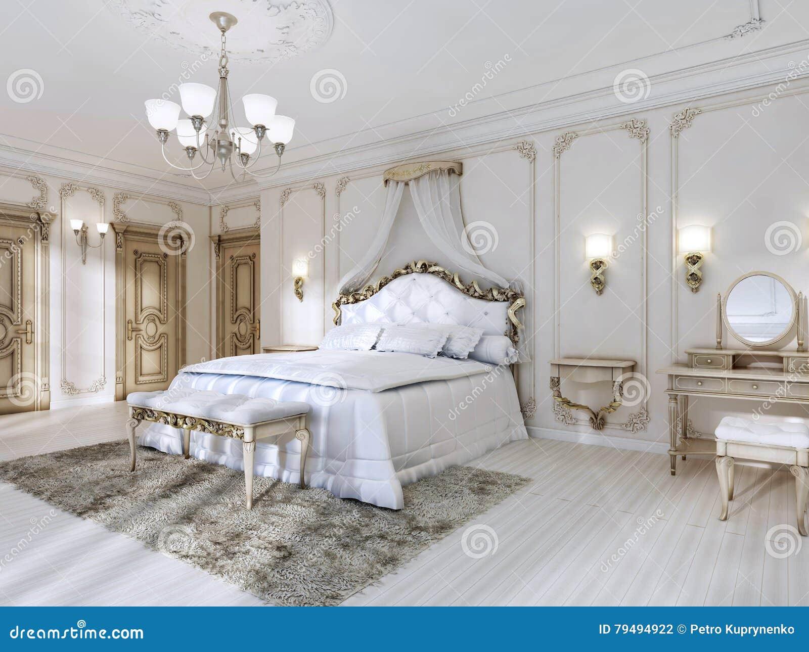 Camera da letto lussuosa nei colori bianchi in uno stile classico illustrazione di stock - Camera da letto stile classico ...