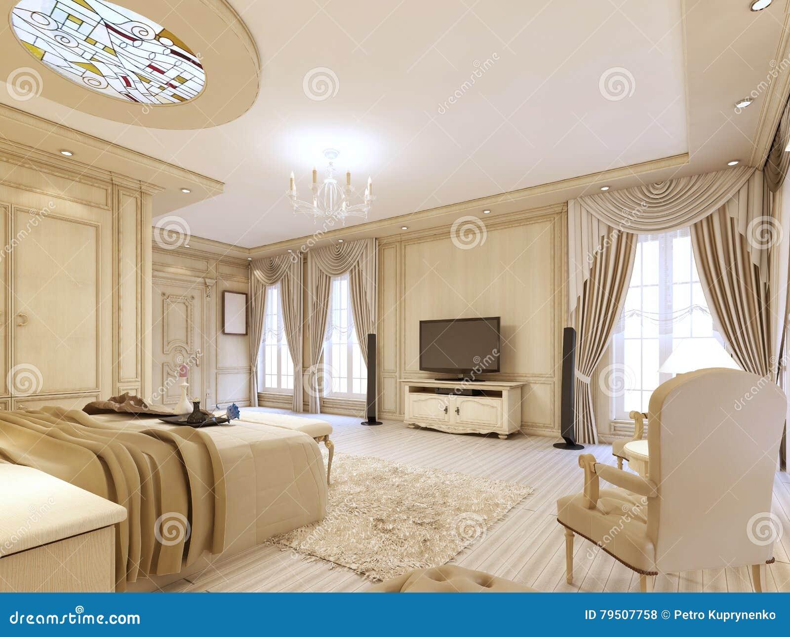 Camera da letto lussuosa nei colori pastelli in uno stile for Chambre a coucher royale