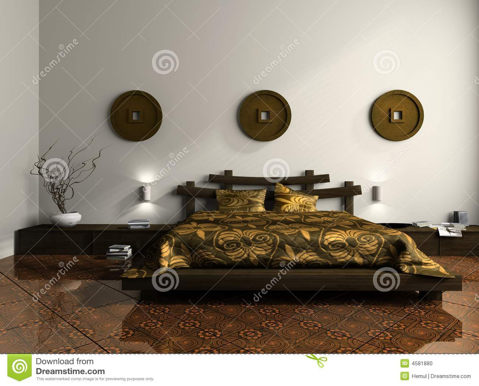 Camera da letto lussuosa nello stile etnico fotografia for Mobilia arredamento 3d