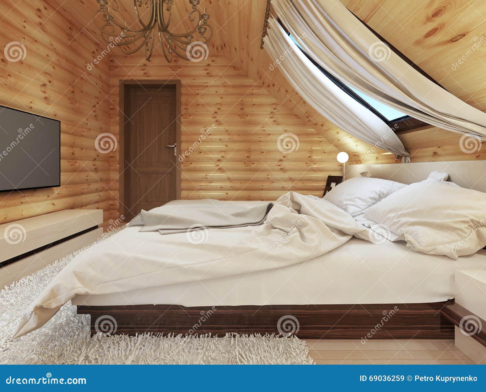 Camera da letto lussuosa nello stile moderno con una for Finestra nel tetto