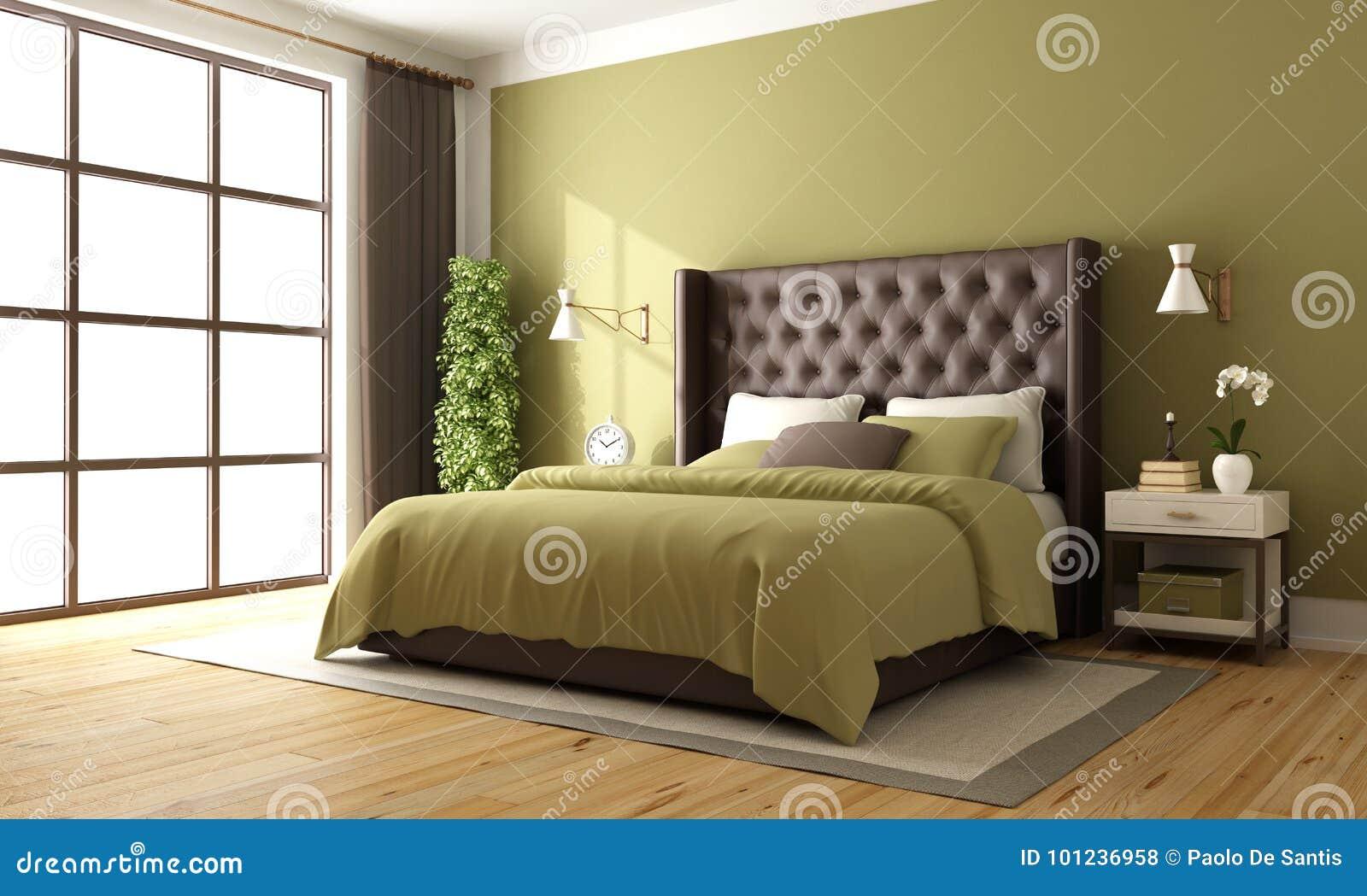 Camera Da Letto Marrone E Verde Classica Illustrazione Di Stock Illustrazione Di Verde Mobilia 101236958