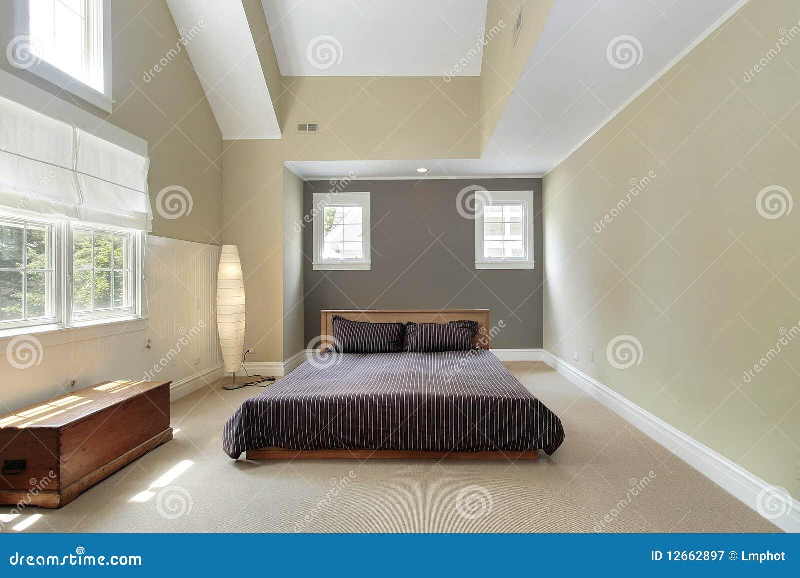 camera da letto matrice con il soffitto di trey fotografia stock ... - Controsoffitti Camera Da Letto