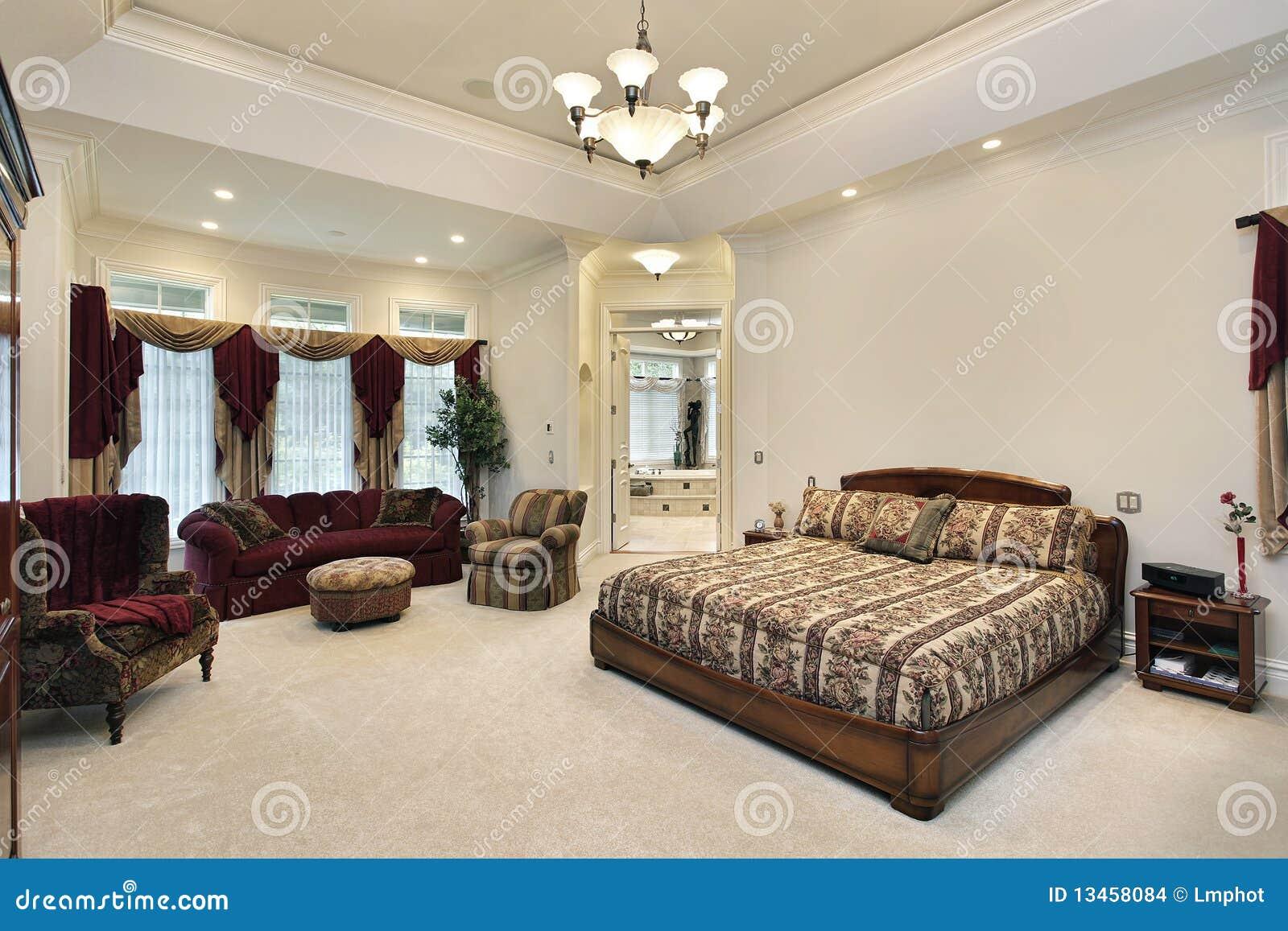 Camera da letto matrice con la vista nella stanza da bagno - Camera da letto con bagno ...