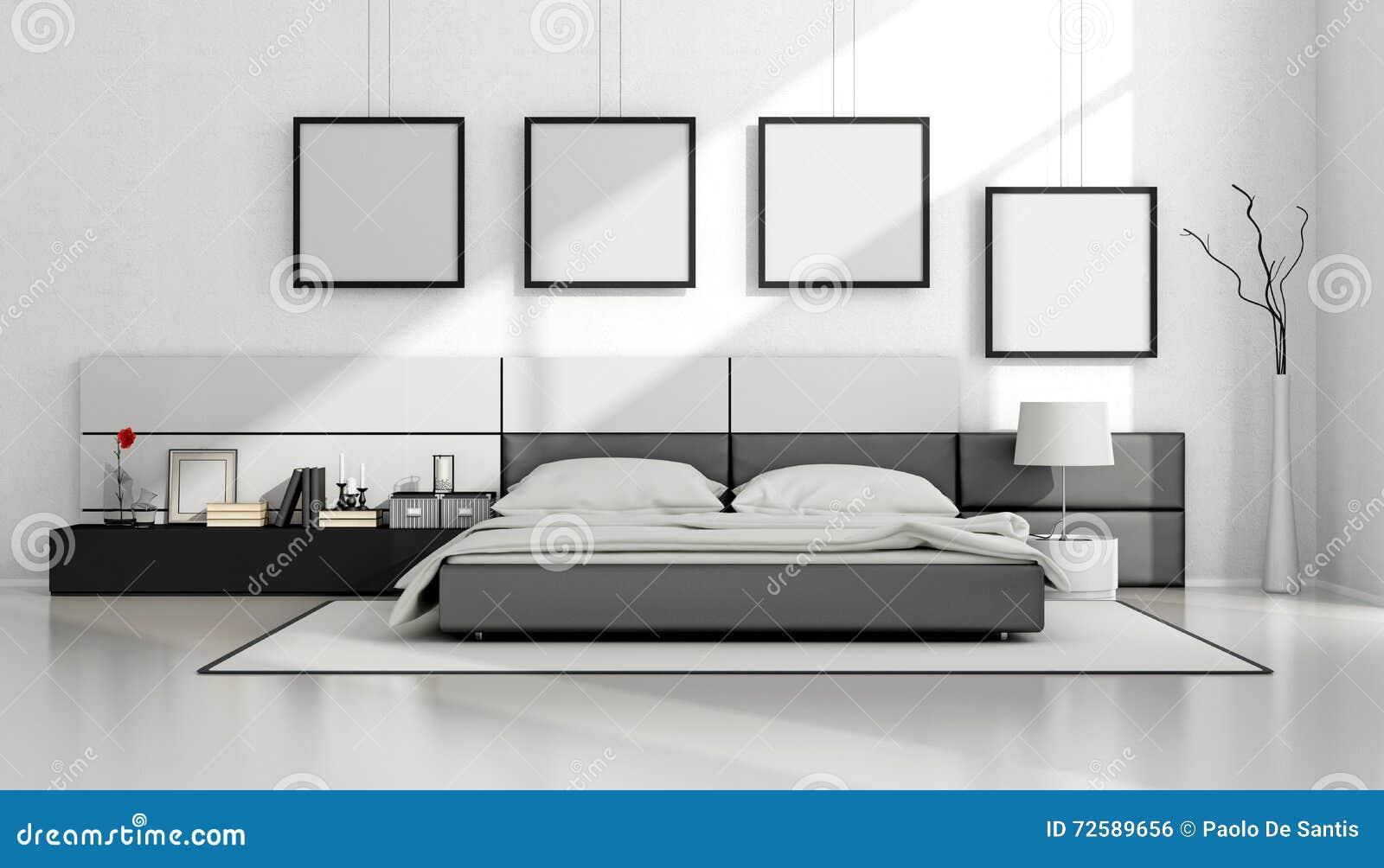 Camera da letto minimalista in bianco e nero illustrazione for Letto minimalista