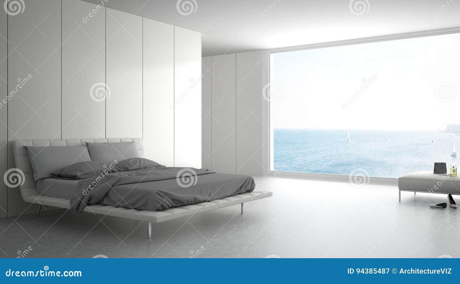 Camere Da Letto Design Minimalista : Camera da letto minimalista con la grande finestra su panorama del