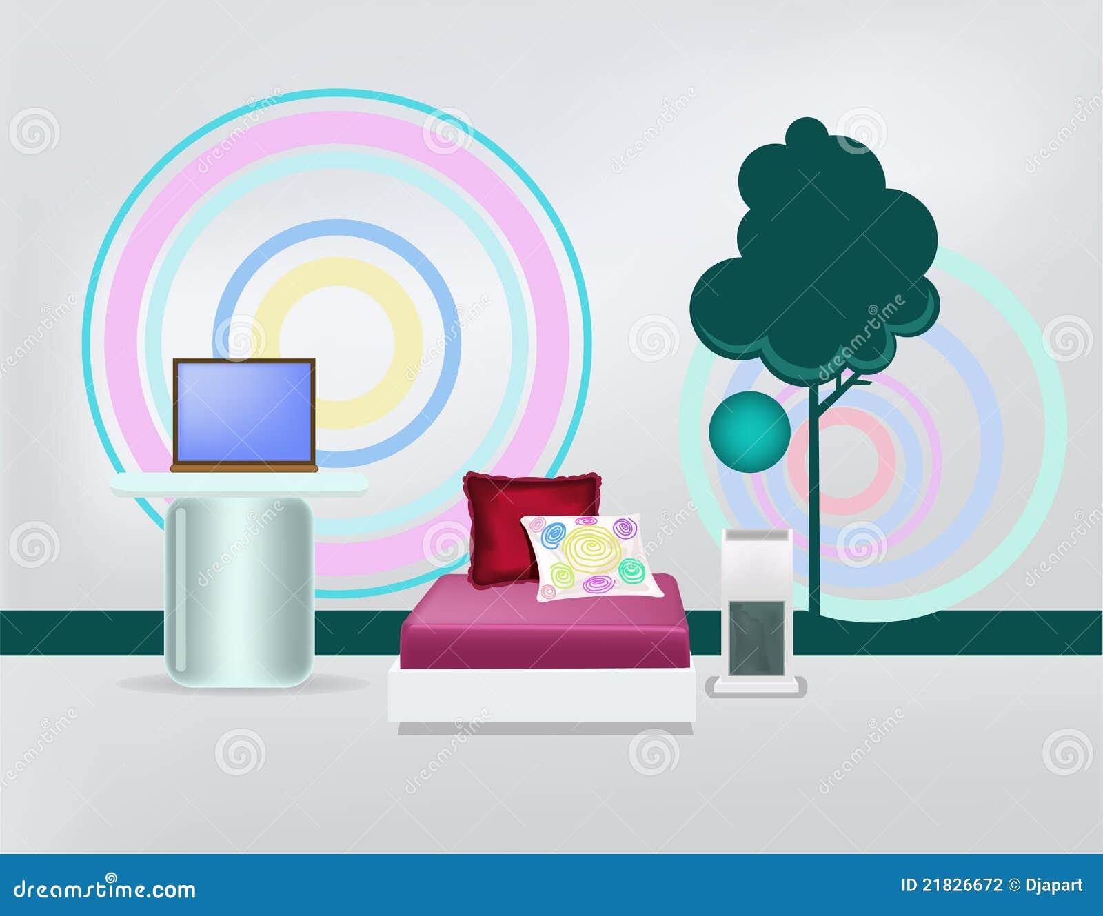 Camera da letto minimalista moderna fotografia stock for Letto minimalista