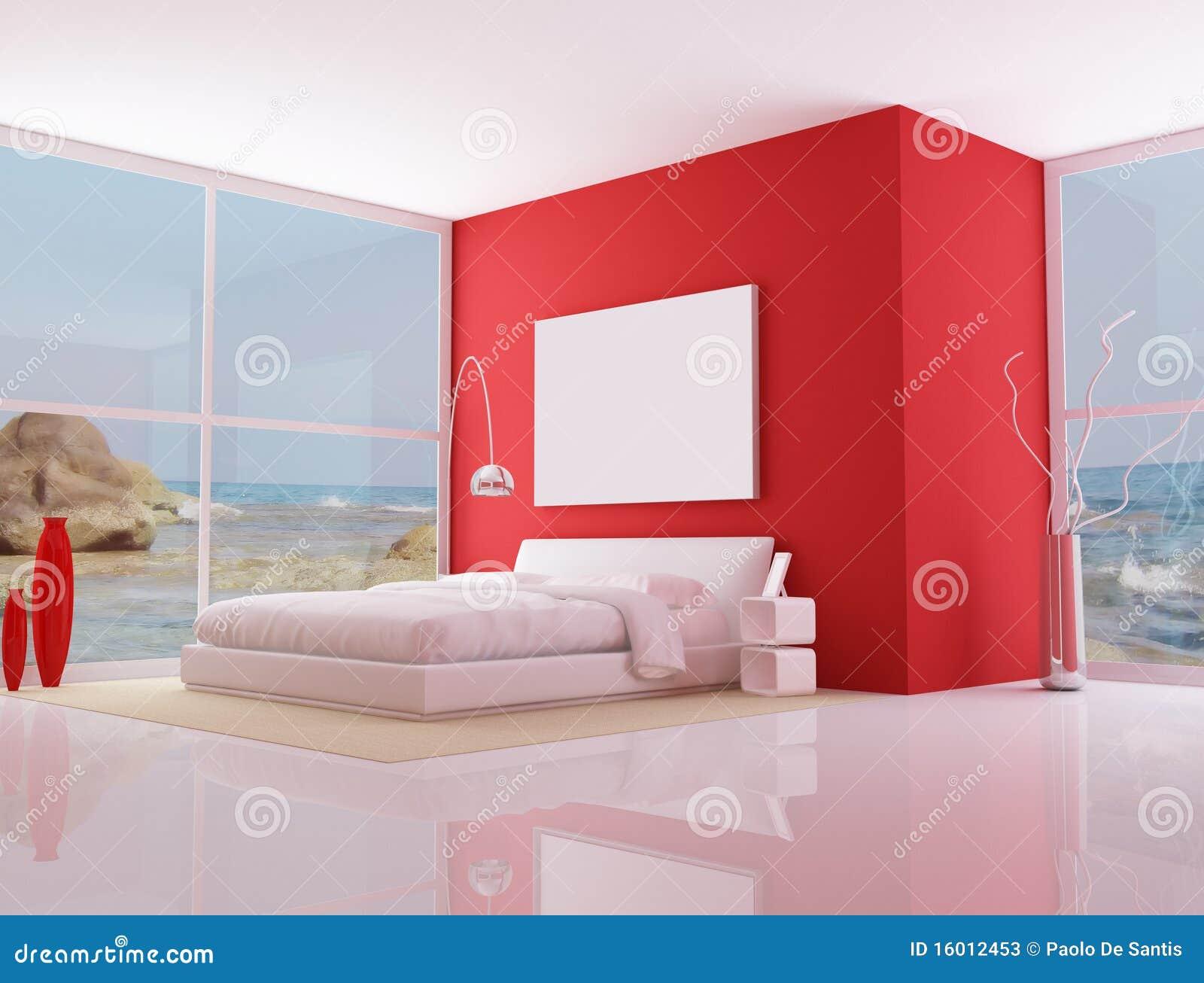 Camera da letto minimalista rossa illustrazione di stock for Letto minimalista
