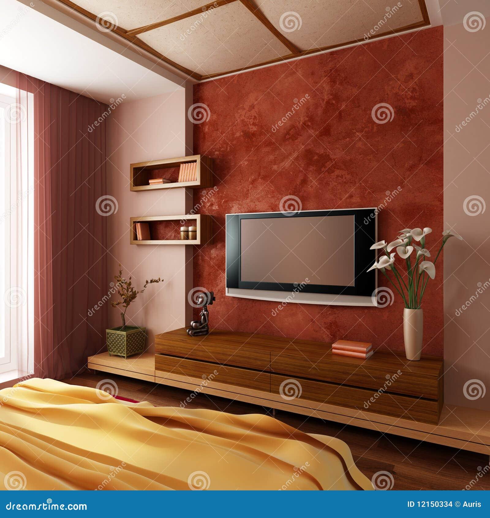 Camera da letto moderna 3d interno di stile illustrazione for Camera letto 3d