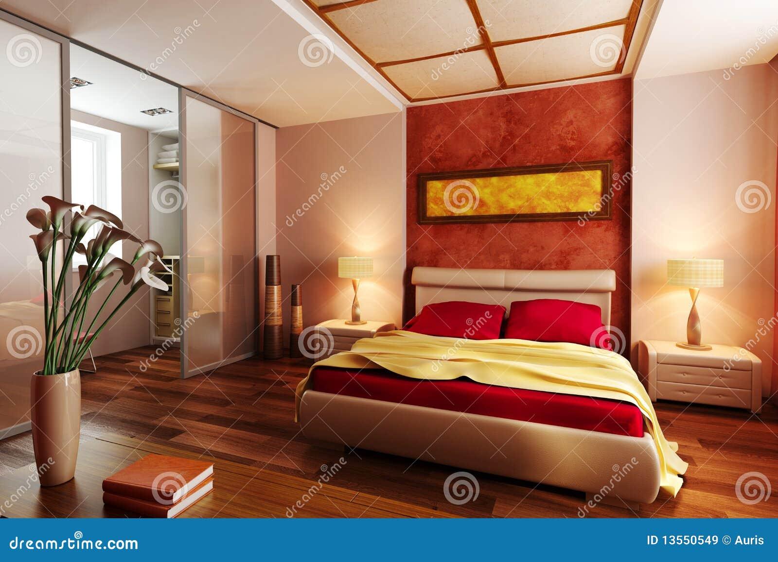 Camera da letto moderna 3d interno di stile immagini stock for Camera letto 3d