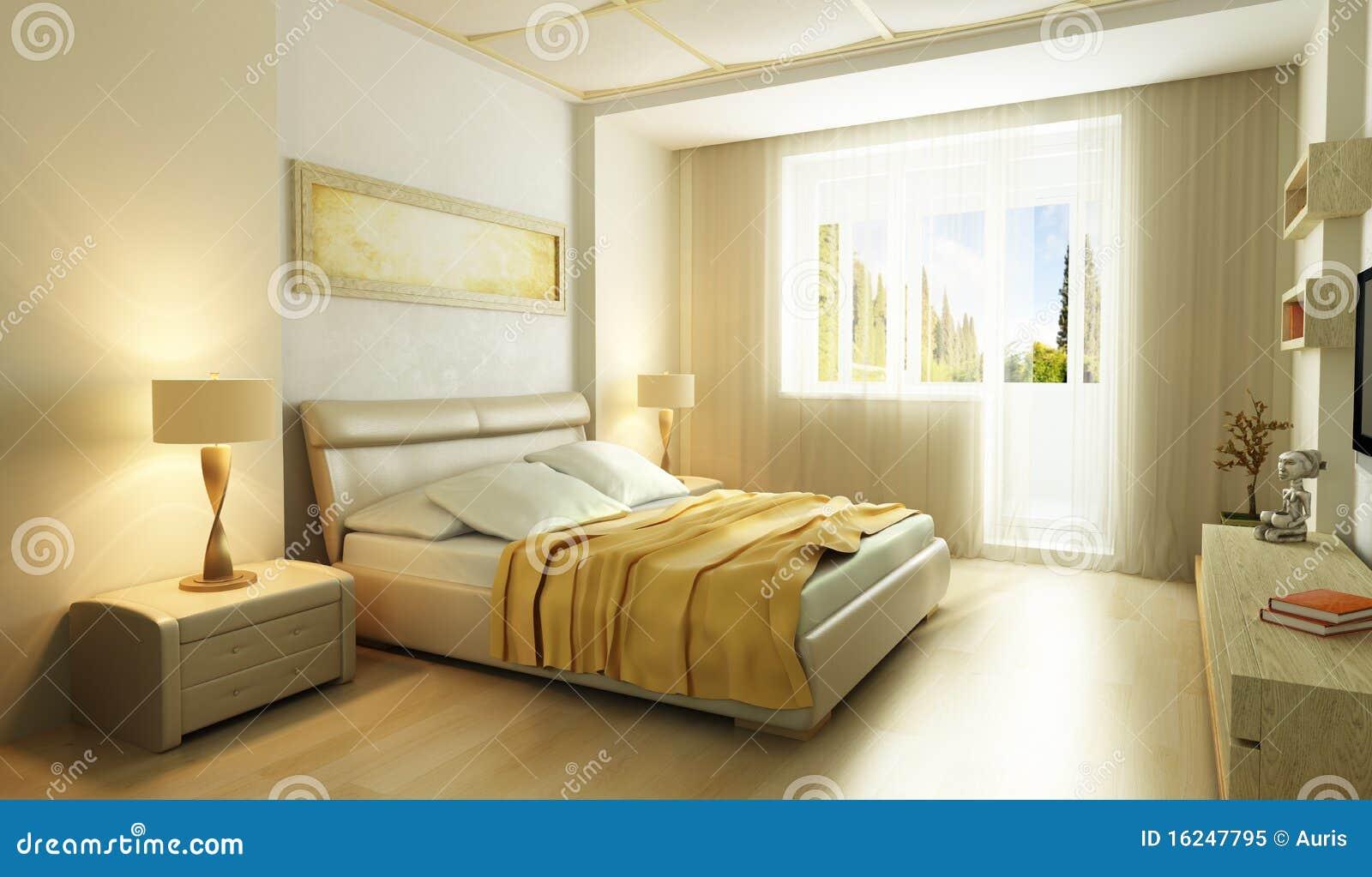 Camera da letto moderna 3d interno di stile fotografia for 3 piani di fattoria camera da letto