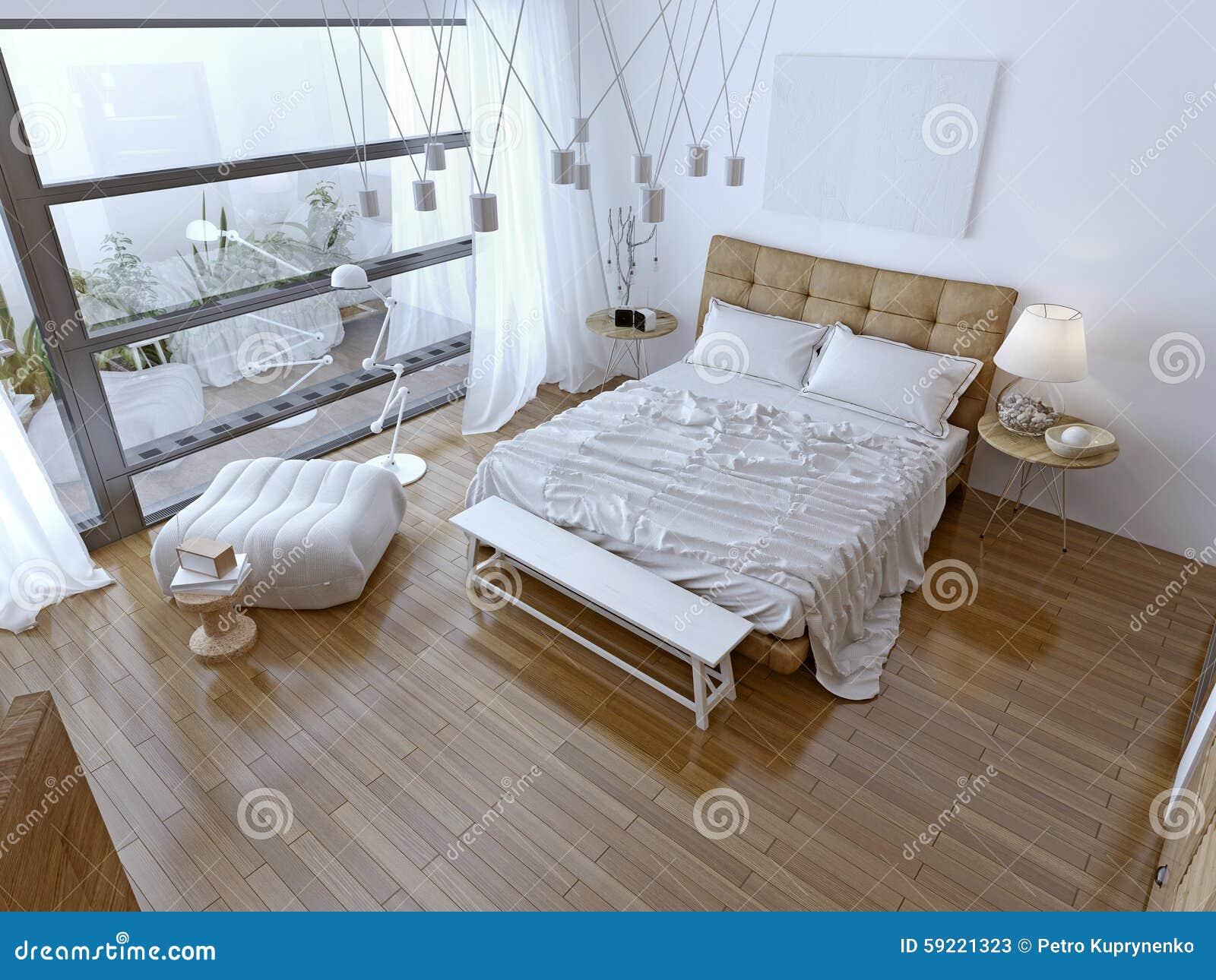 Camera da letto moderna bianca con il pavimento marrone - Camera da letto con parquet ...