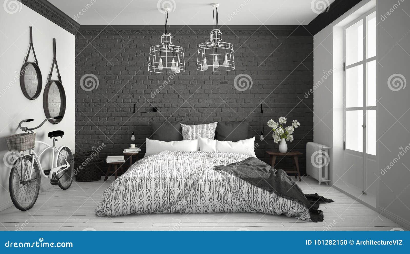 Camera da letto moderna bianca e grigia con letto matrimoniale accogliente muro di mattoni - Camera da letto moderna bianca laccata ...