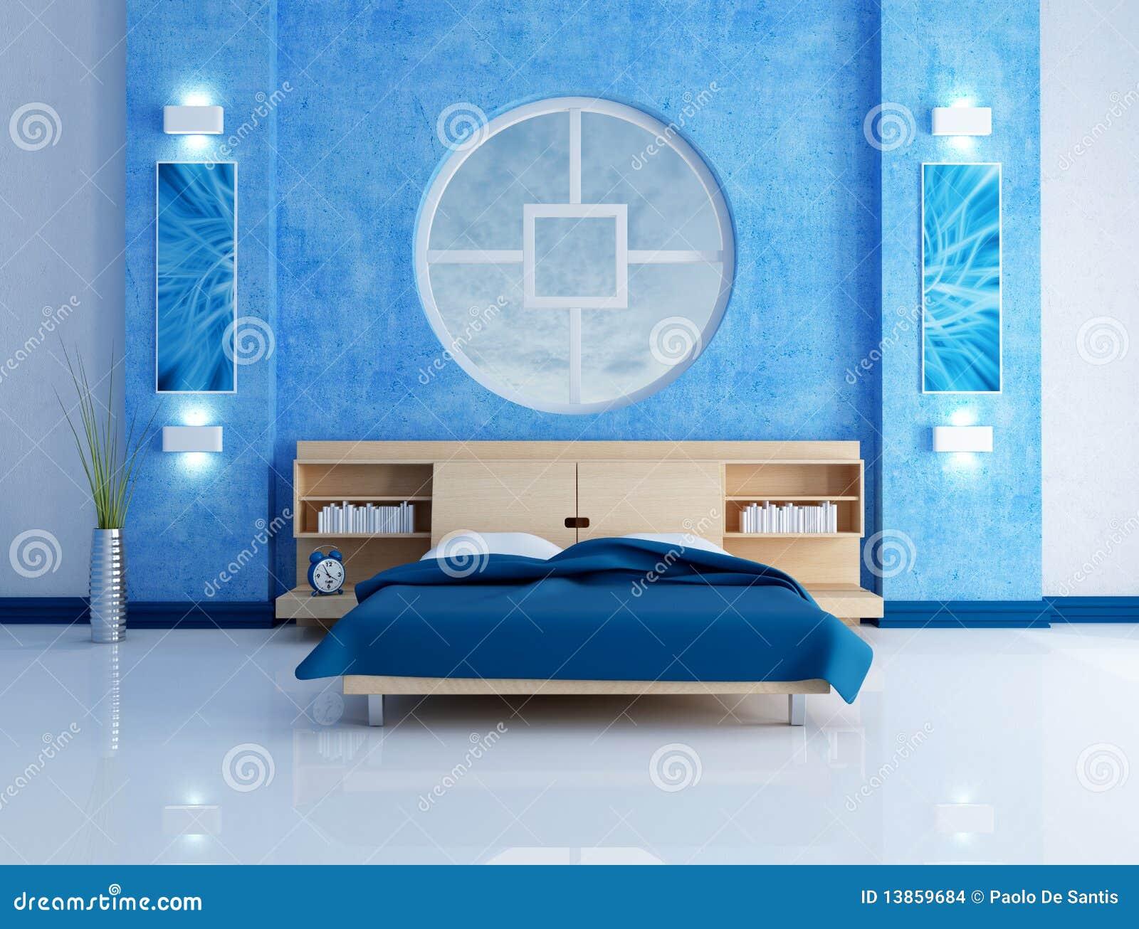 Camera da letto moderna blu illustrazione di stock - Camera da letto bianca moderna ...